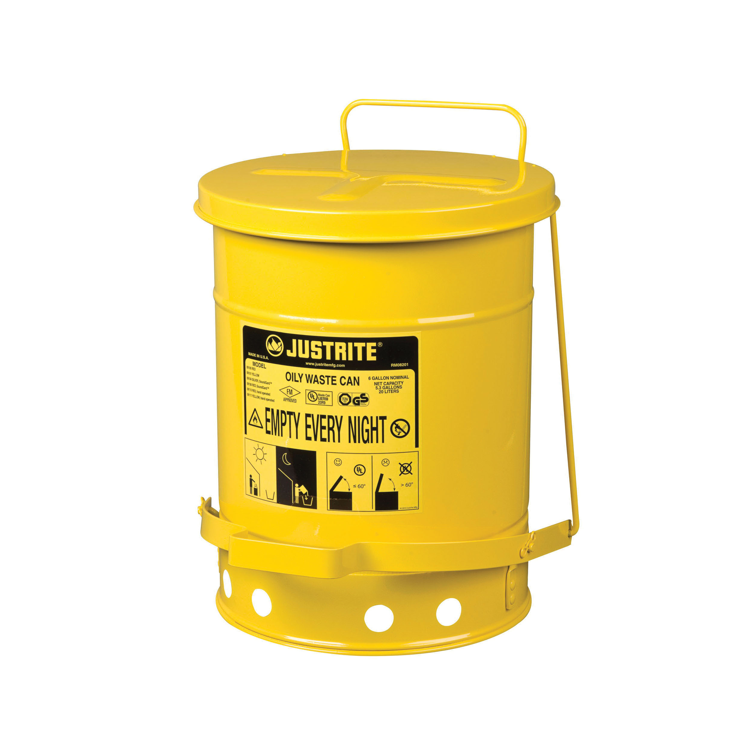 Justrite® 09101 Standard Foot Operated Oily Waste Can With Self-Closing Cover, 6 gal Capacity, 11-7/8 in Dia x 15-7/8 in H, Steel, Yellow