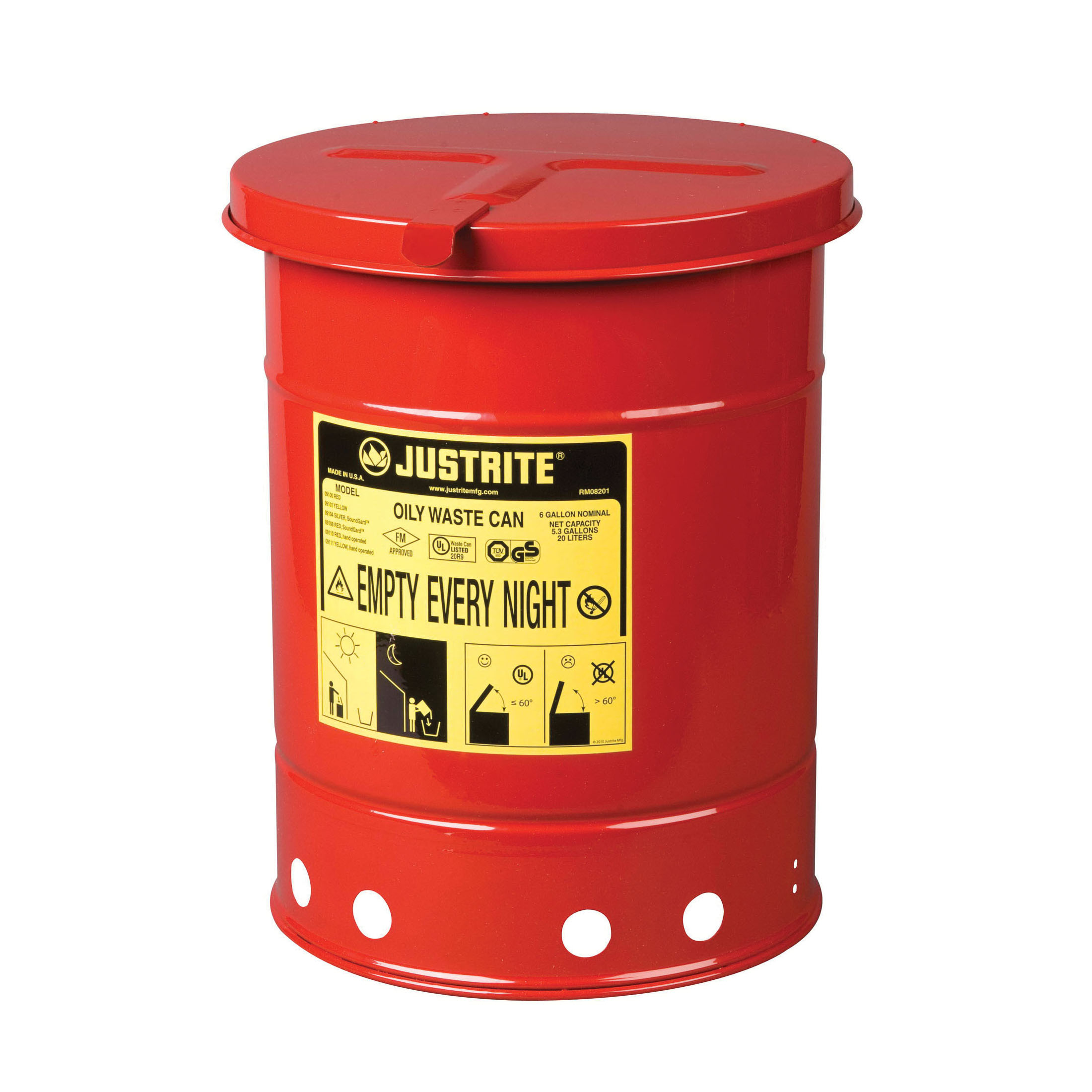 Justrite® 09110 Hand Operated Oily Waste Can, 6 gal Capacity, 11-7/8 in Dia x 15-7/8 in H, Steel, Red