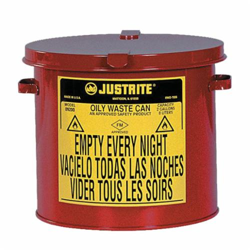 Justrite® 09200 Countertop Oily Waste Can, 2 gal Capacity, 9-5/8 in Dia x 9-1/8 in H, Galvanized Steel, Red