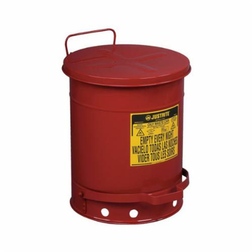 Justrite® 09300 Foot Operated Oily Waste Can, 10 gal Capacity, 13-15/16 in Dia x 18-1/4 in H, Galvanized Steel, Red