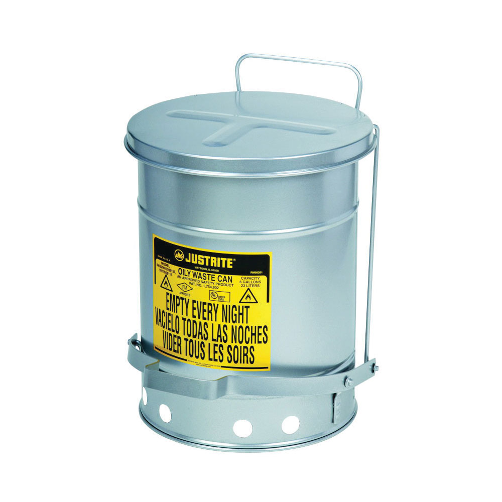 Justrite® 09304 Foot Operated Oily Waste Can With Self-Closing SoundGard™ Cover, 10 gal Capacity, 13.938 in Dia x 18-1/4 in H, Steel, Silver