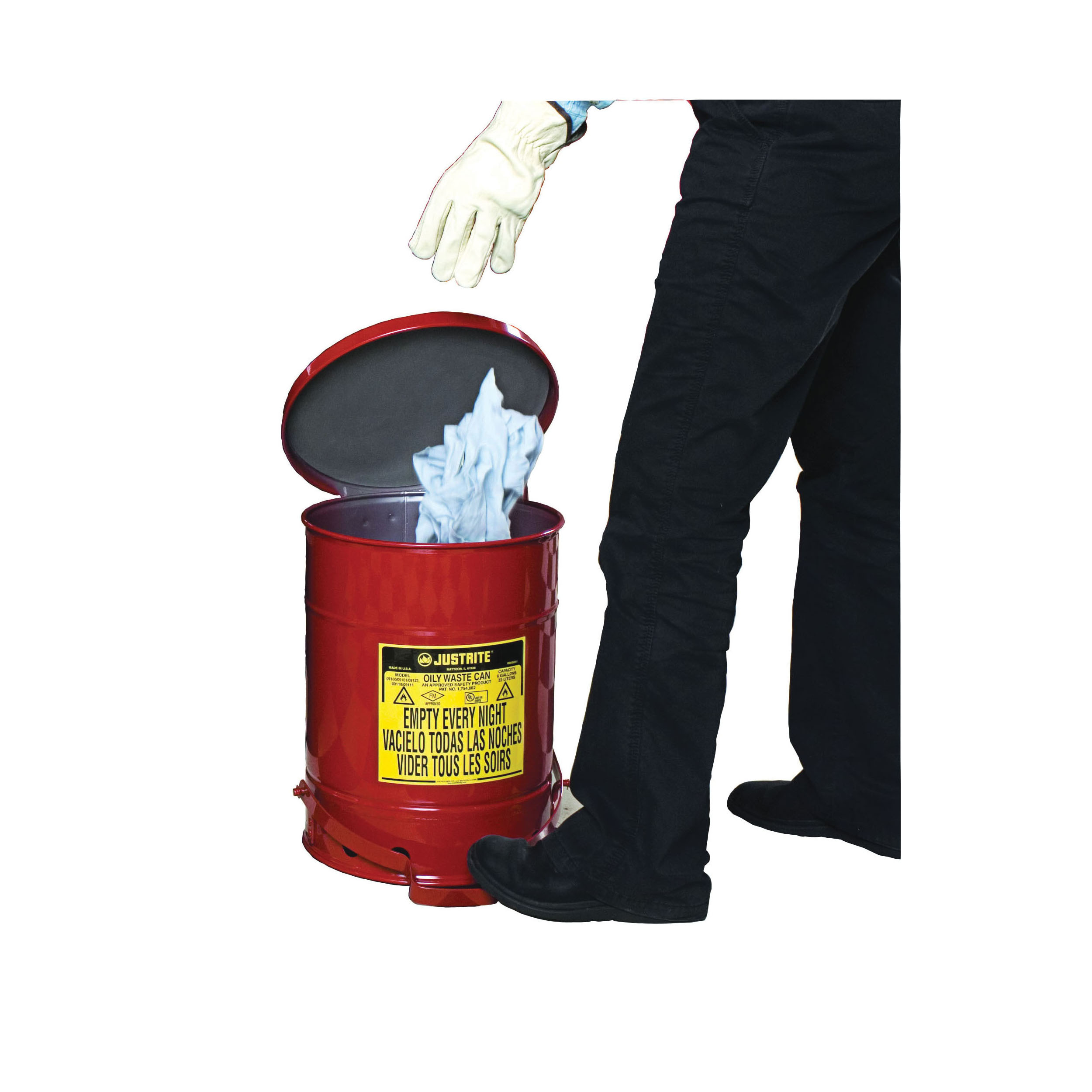 Justrite® 09308 Foot Operated Oily Waste Can With Self-Closing SoundGard™ Cover, 10 gal Capacity, 13.938 in Dia x 18-1/4 in H, Steel, Red