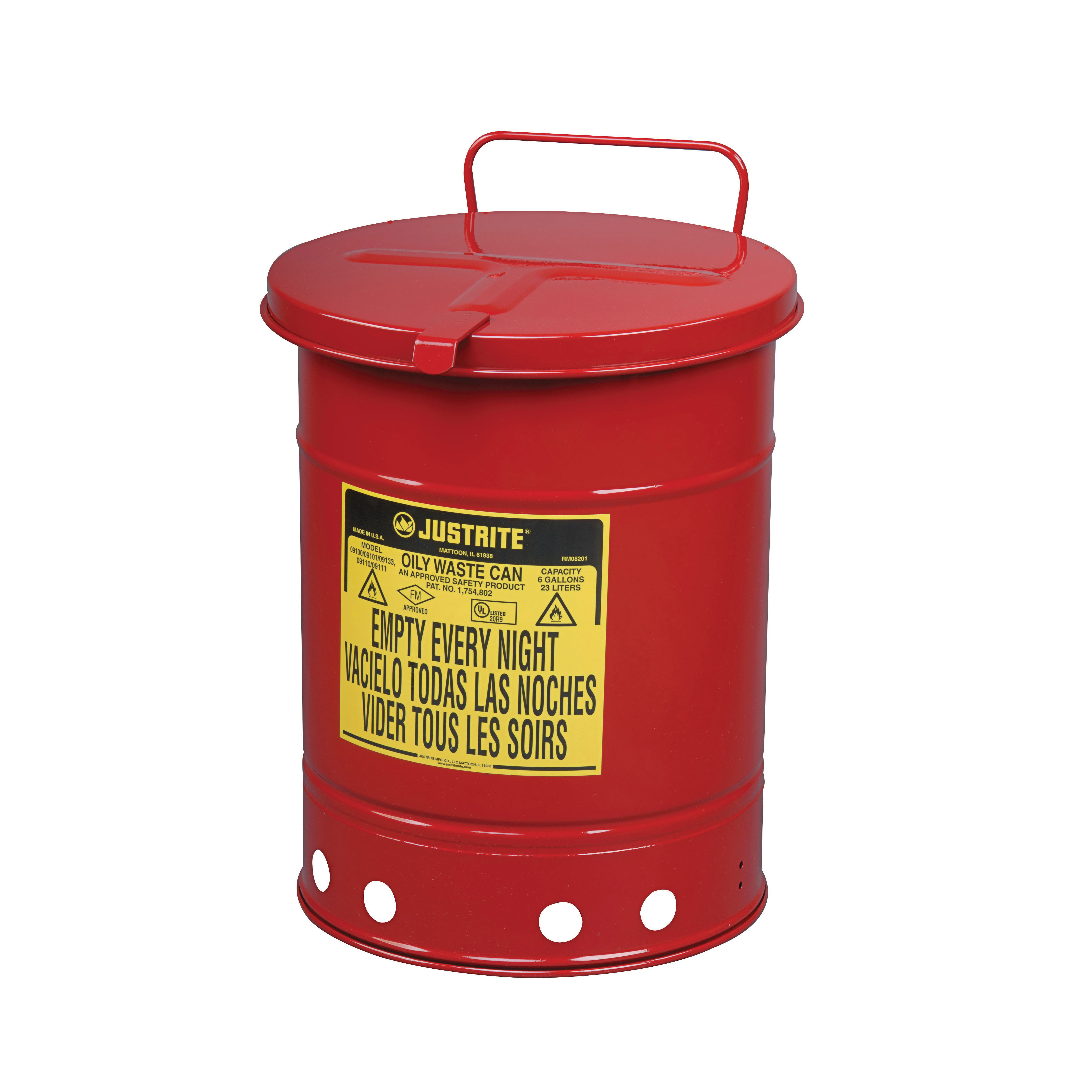 Justrite® 09310 Hand Operated Oily Waste Can, 10 gal Capacity, 13.938 in Dia x 18-1/4 in H, Steel, Red