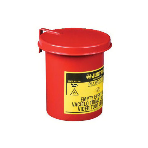 Justrite® 09410 Mini Benchtop Foot Operated Oily Waste Can With Self-Closing SoundGard™ Cover, 0.45 gal Capacity, 4-5/8 in Dia x 6-1/2 in H, Galvanized Steel, Red