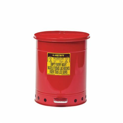 Justrite® 09500 Foot Operated Oily Waste Can, 14 gal Capacity, 16-1/16 in Dia x 20-1/4 in H, Galvanized Steel, Red