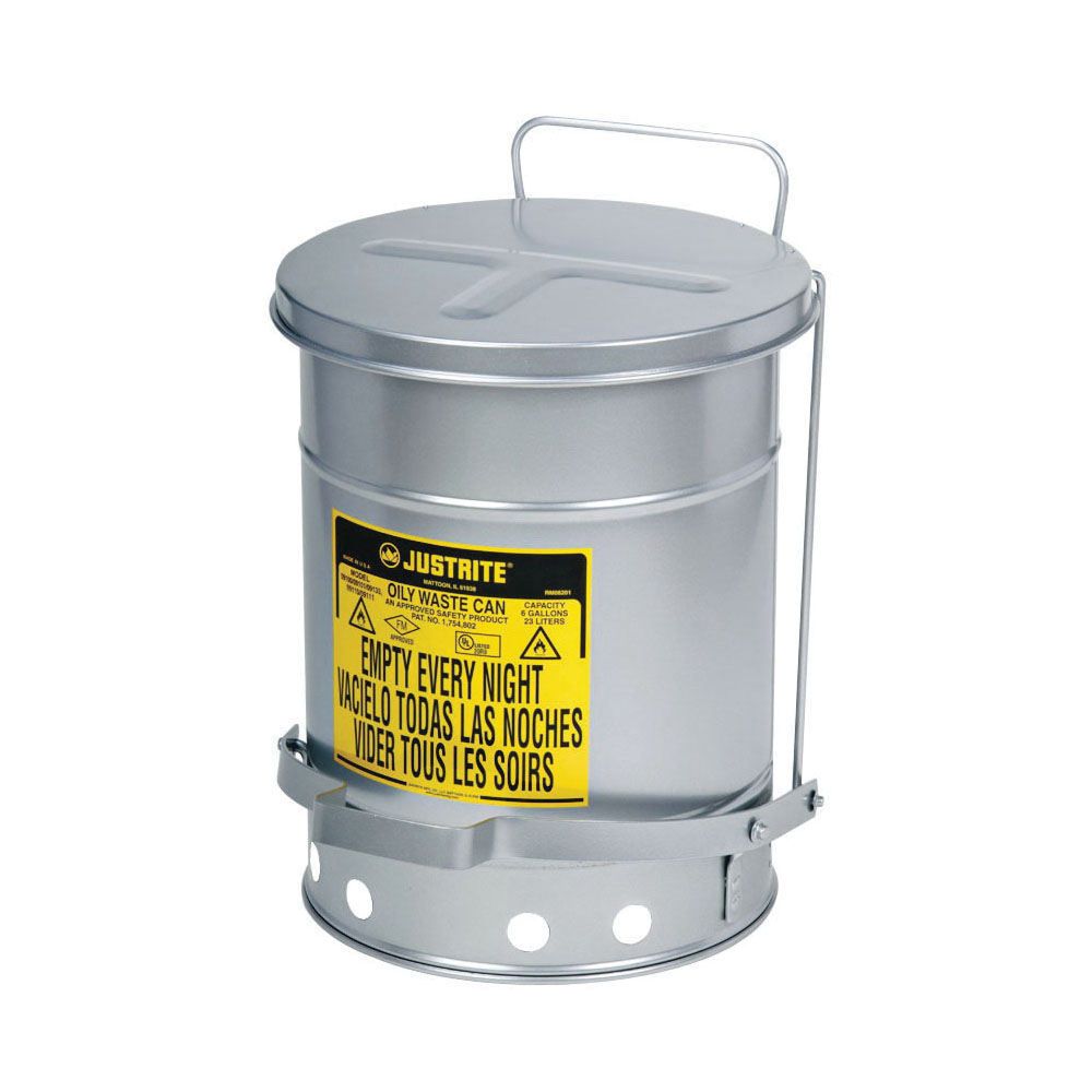 Justrite® 09504 Foot Operated Oily Waste Can With Self-Closing SoundGard™ Cover, 14 gal Capacity, 16.063 in Dia x 20-1/4 in H, Steel, Silver