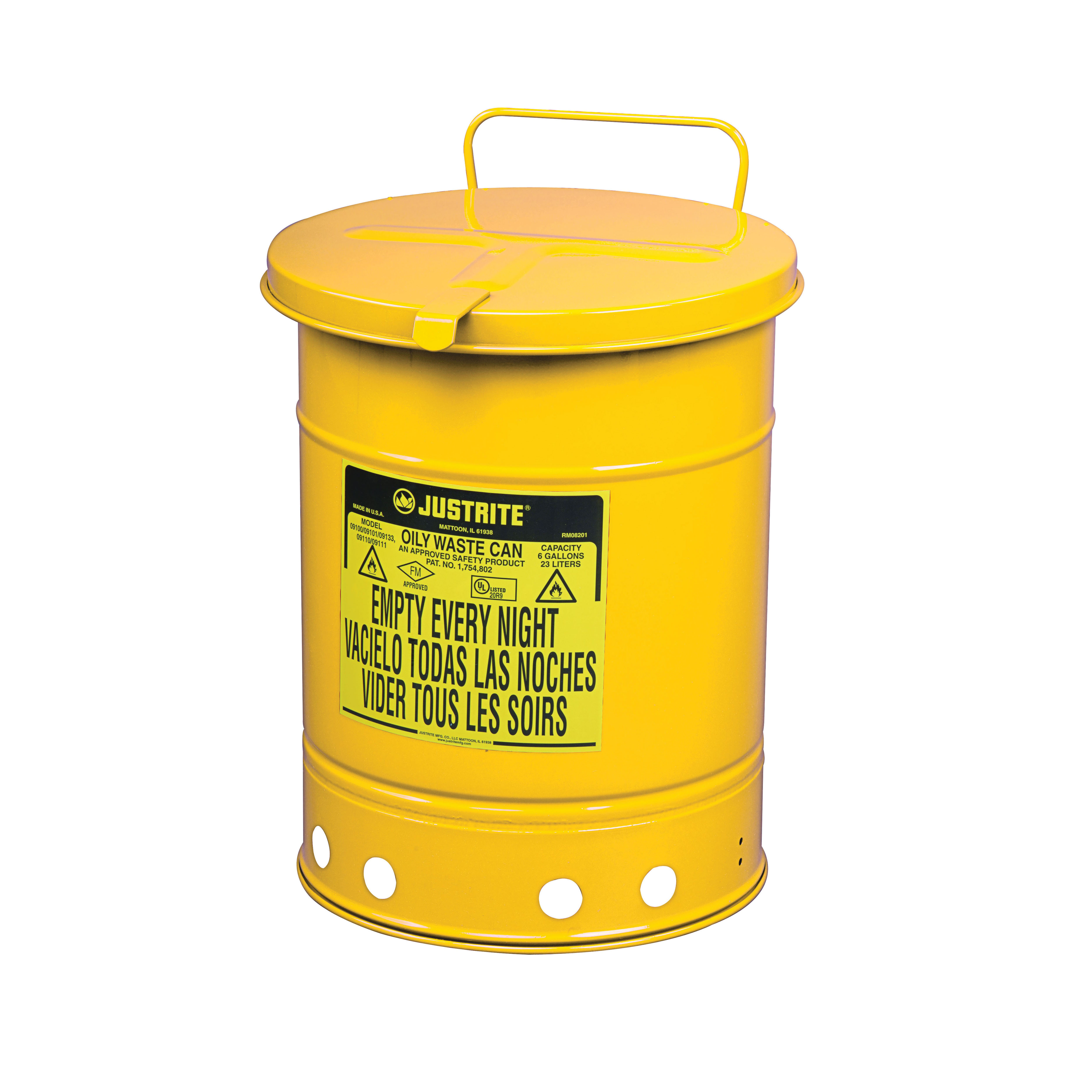 Justrite® 09511 Hand Operated Oily Waste Can, 14 gal Capacity, 16.063 in Dia x 20-1/4 in H, Steel, Yellow