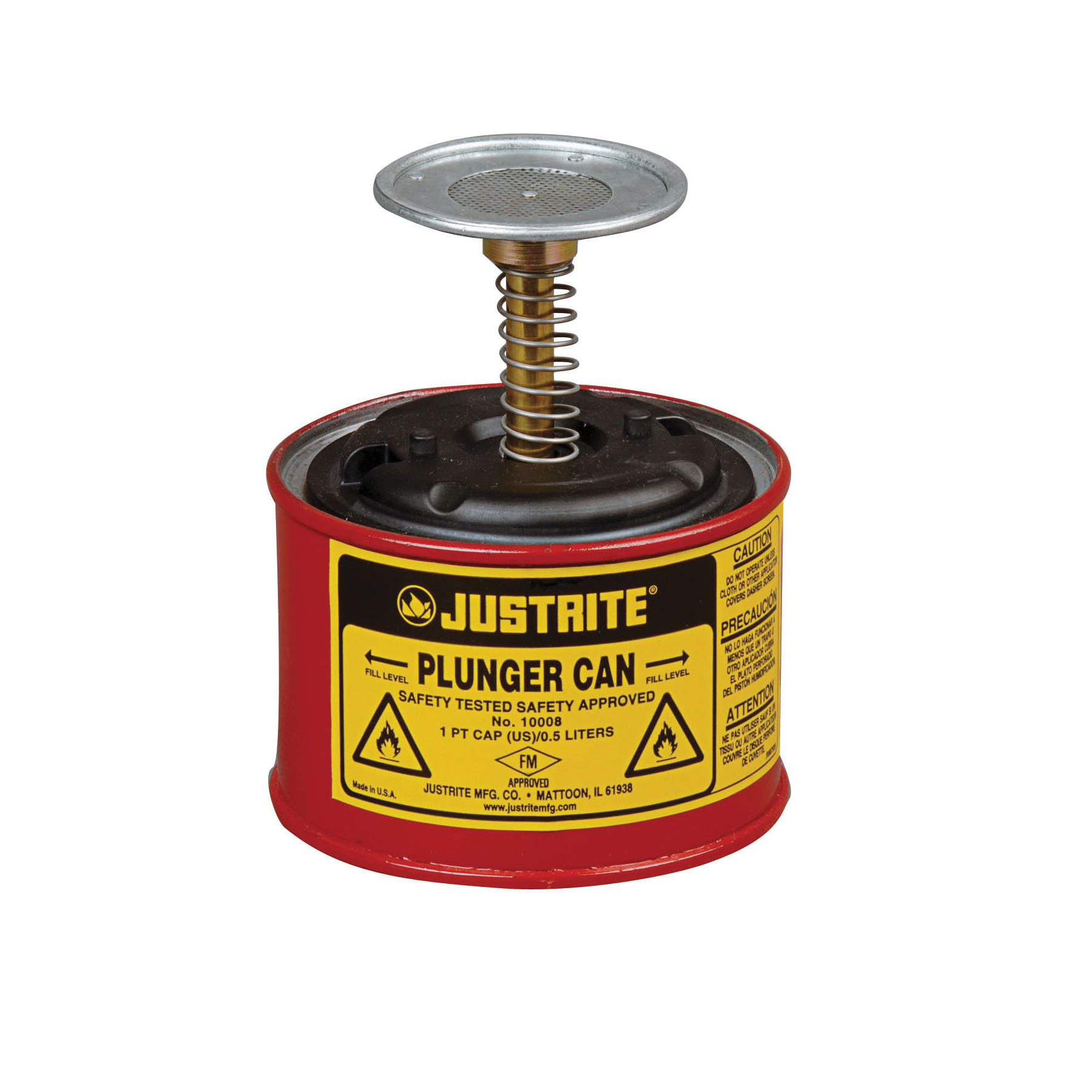 Justrite® 10008 Plunger Dispensing Can, 1 pt, Steel, Red, Brass/Ryton® Plunger, 2-3/4 in Dia Dasher Plate