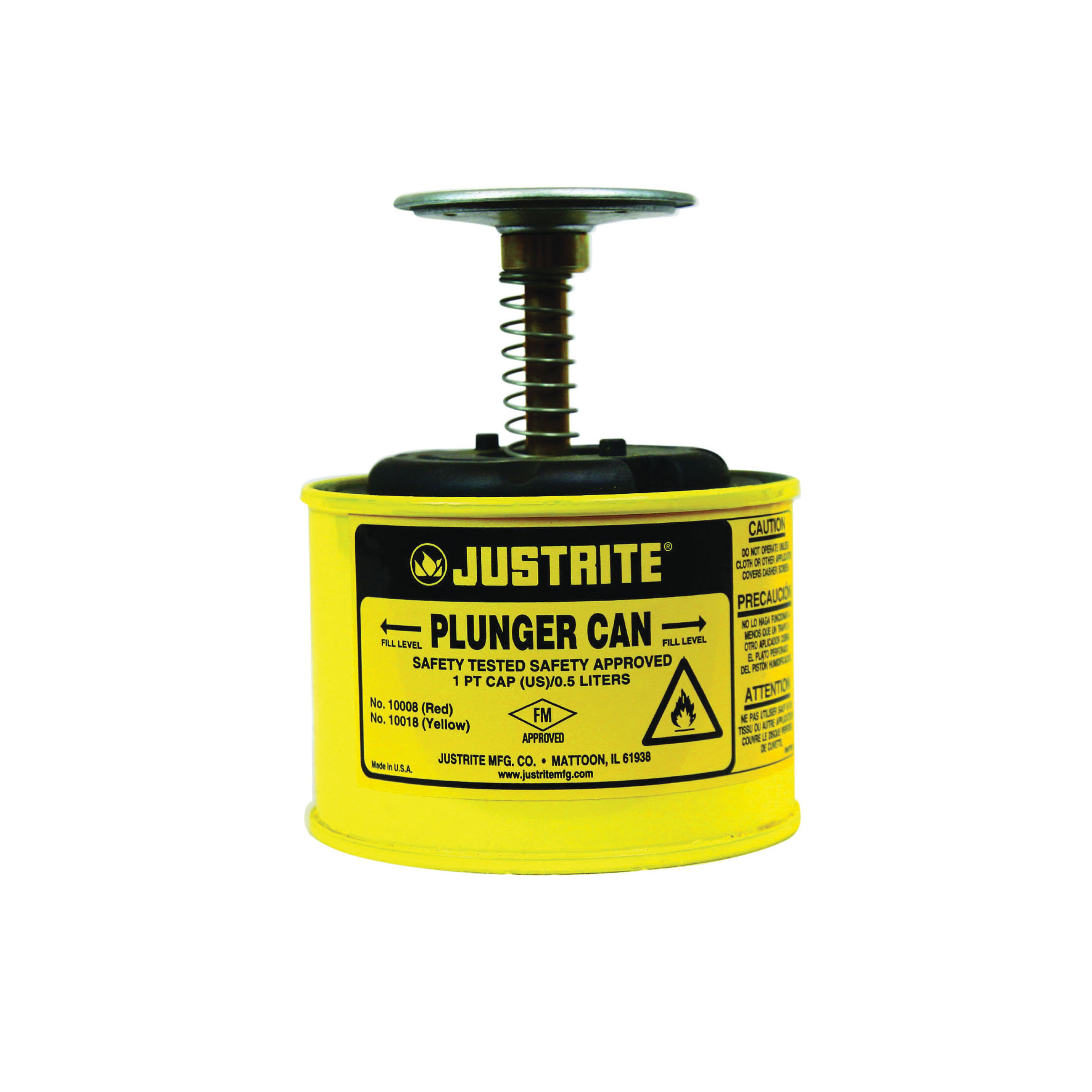 Justrite® 10018 Plunger Dispensing Can, 1 pt, Steel, Yellow, Brass/Ryton® Plunger, 2-3/4 in Dia Dasher Plate