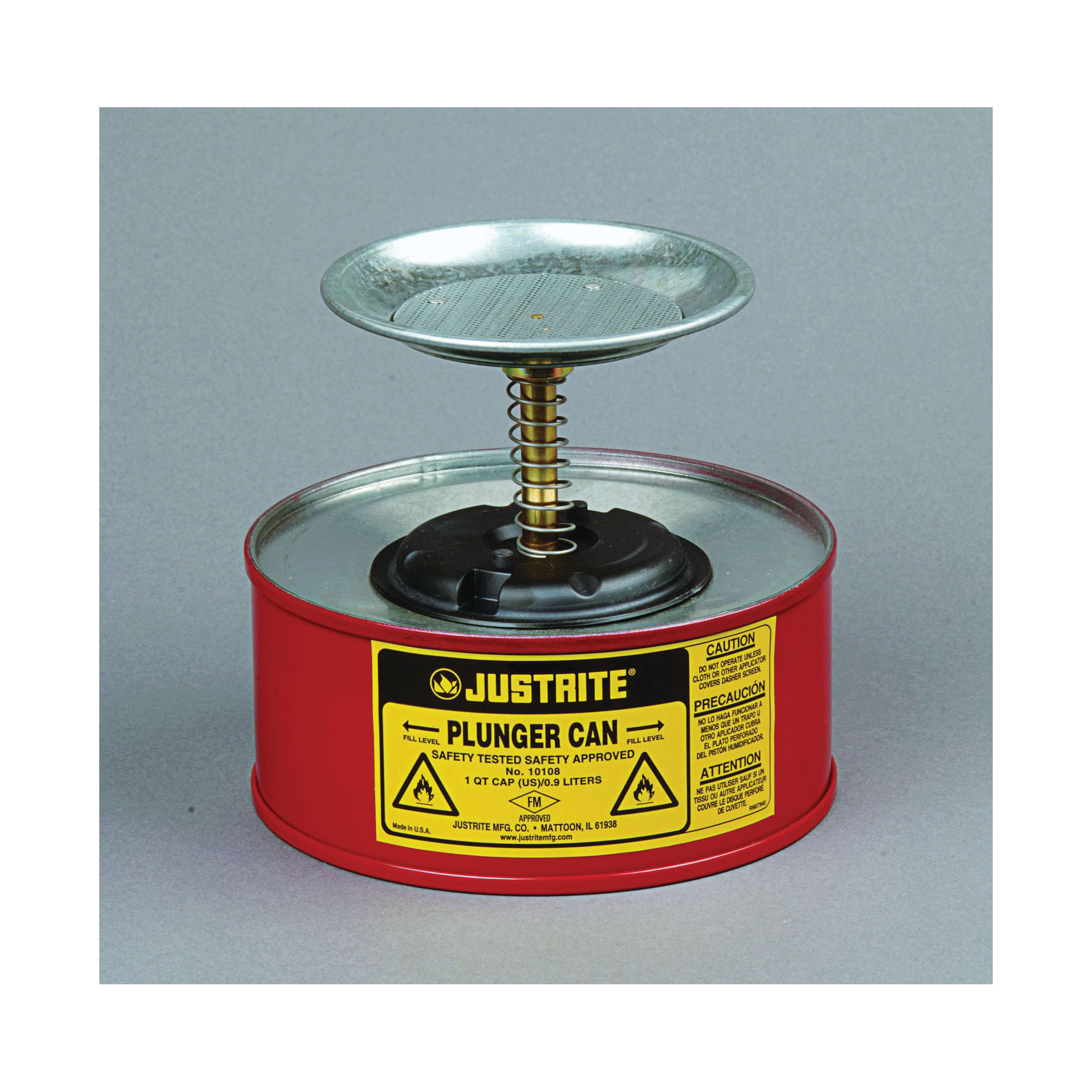 Justrite® 10108 Plunger Dispensing Can, 1 qt, Steel, Red, Brass/Ryton® Plunger, 5 in Dia Dasher Plate