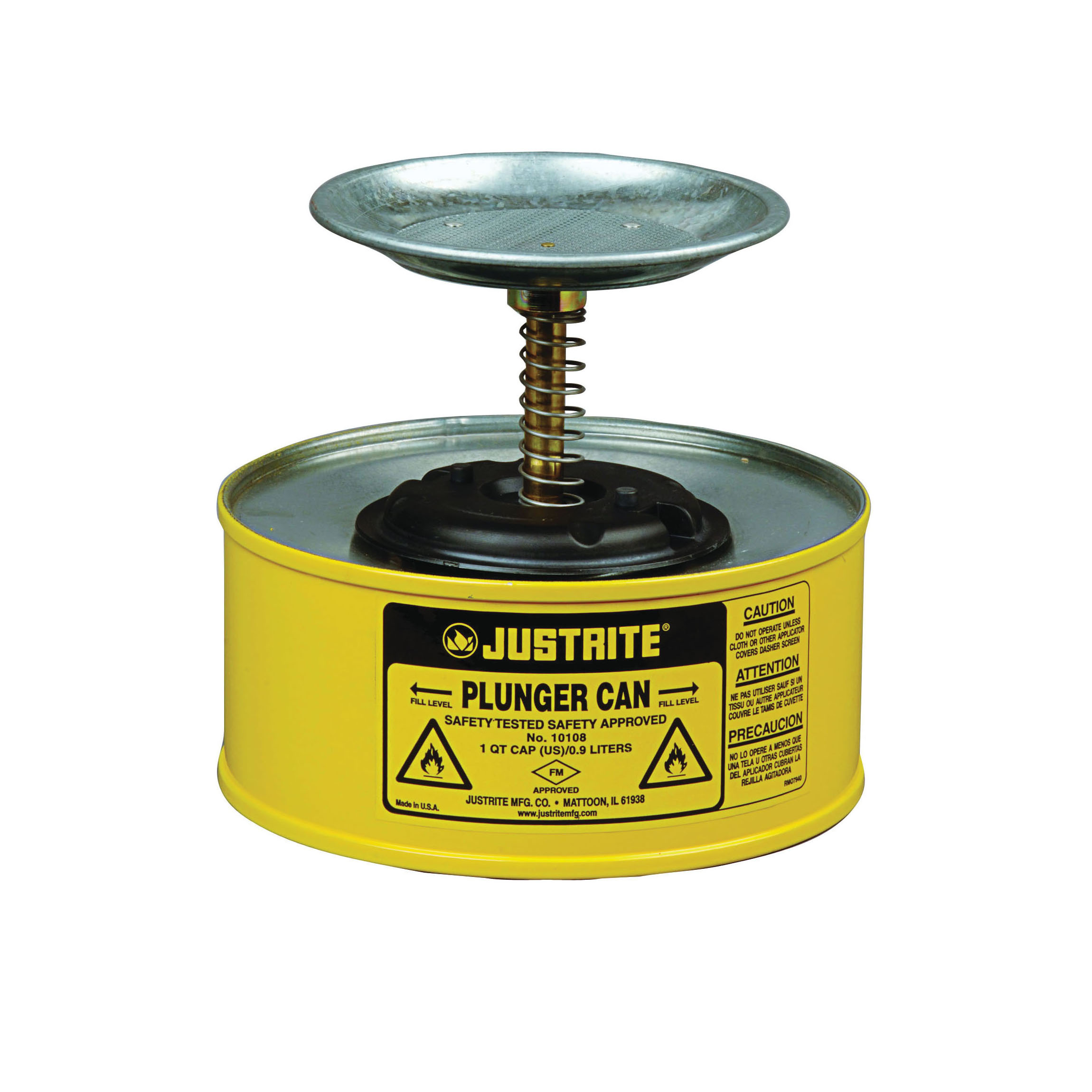 Justrite® 10118 Plunger Dispensing Can, 1 qt, Steel, Yellow, Brass/Ryton® Plunger, 5 in Dia Dasher Plate