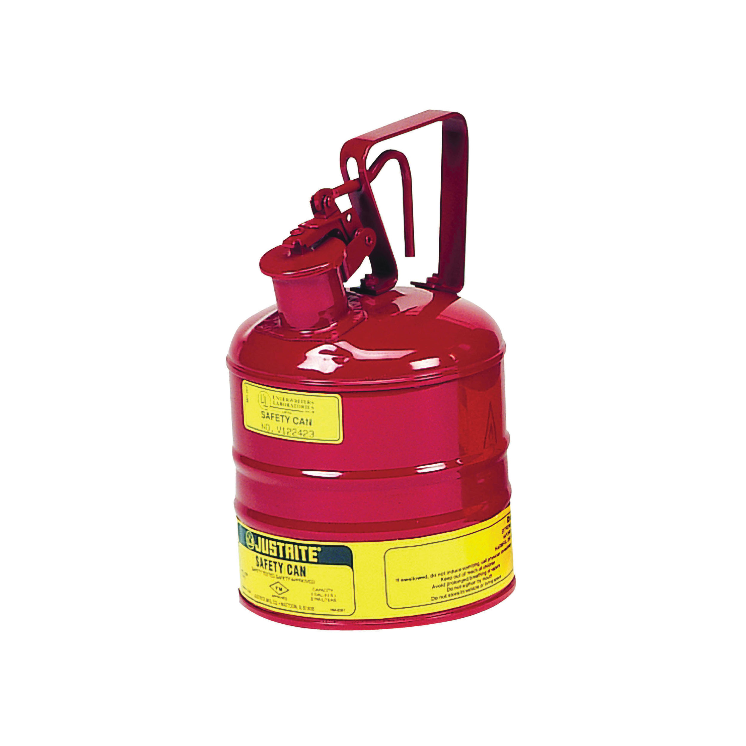 Justrite® 10301 Type I Safety Can With Trigger Handle and Stainless Steel Flame Arrester, 1 gal Capacity, 7-1/4 in Dia x 11-1/2 in H, Steel, Red