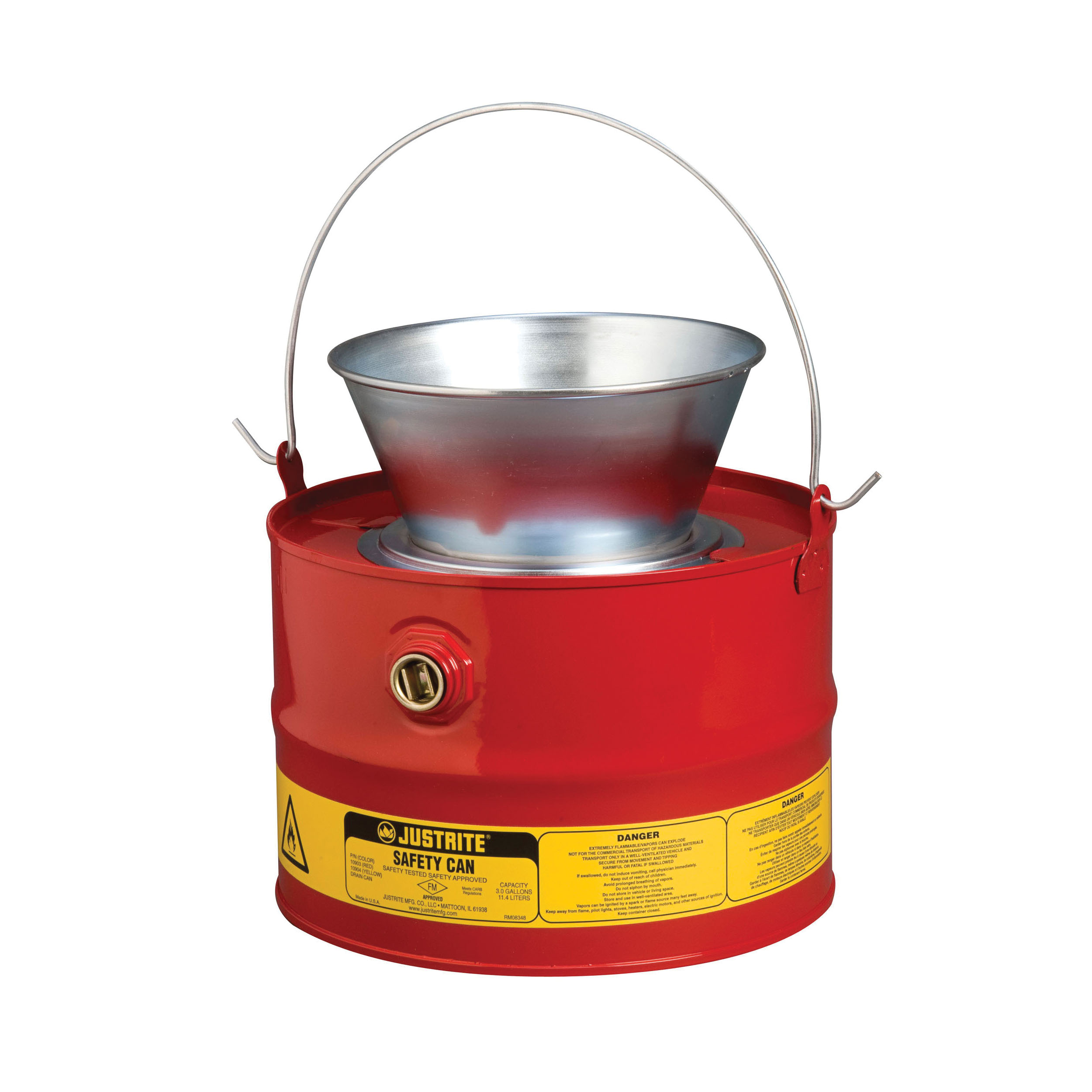 Justrite® 10903 Drain Can With Plated Steel Funnel, 3 gal Capacity, 11-5/8 in Dia, 12-1/4 in H, Steel, Red, FM Approved