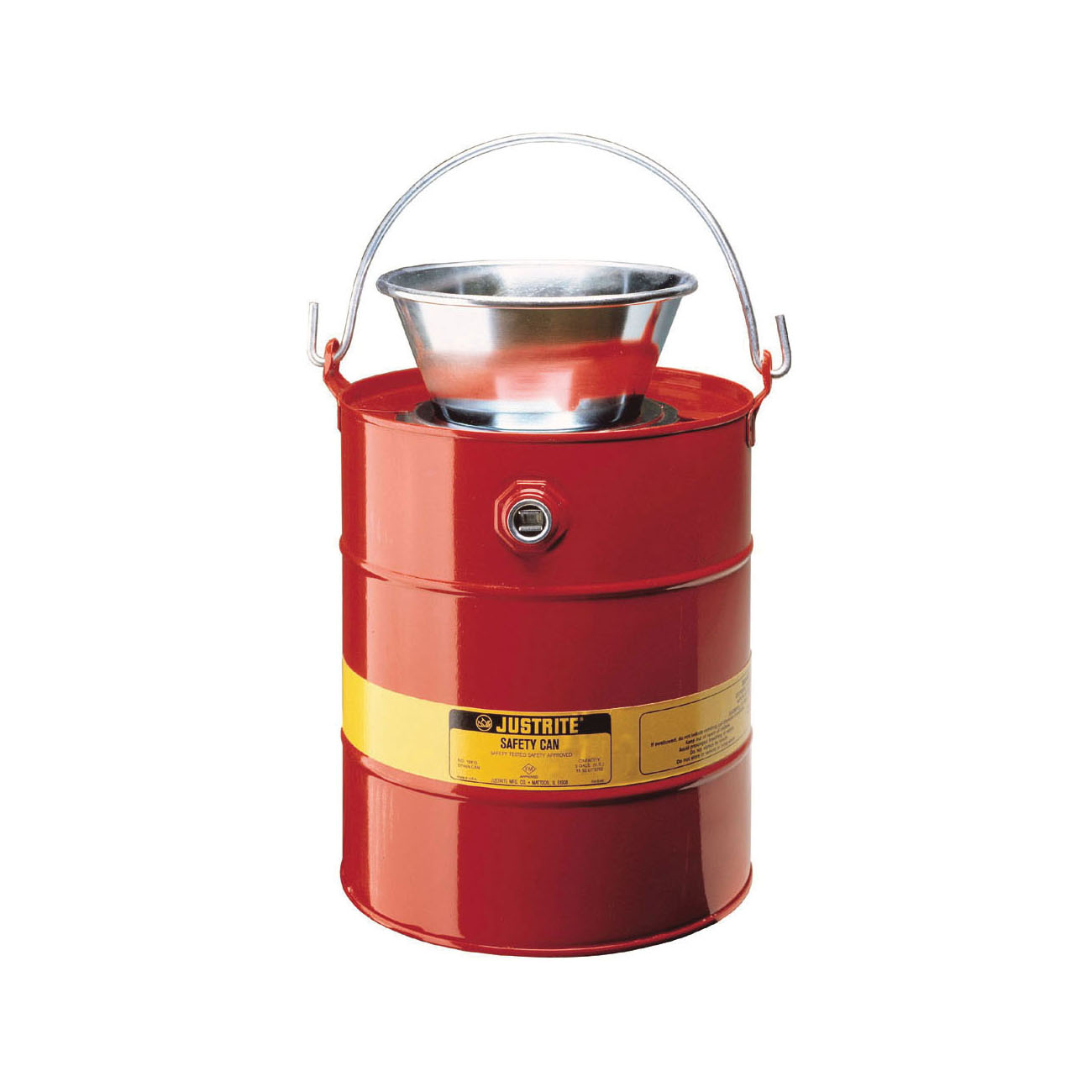 Justrite® 10905 Drain Can With Plated Steel Funnel, 5 gal Capacity, 11-5/8 in Dia, 16-3/4 in H, Steel, Red, FM Approved