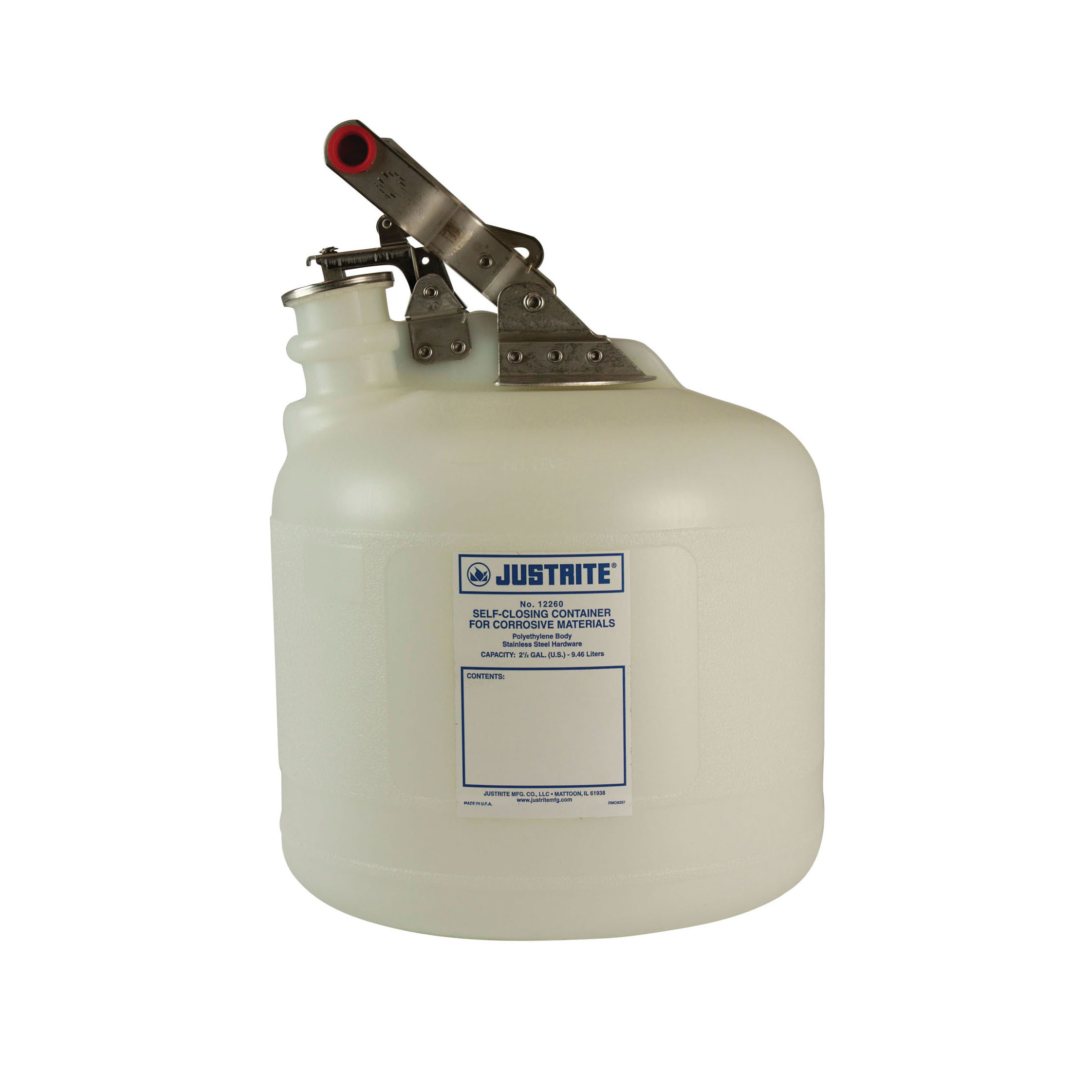 Justrite® 12260 Self-Closing Safety Container With Stainless Steel Hardware, 2.5 gal Capacity, 10-3/4 in Dia, 15-1/4 in H, Polyethylene, White