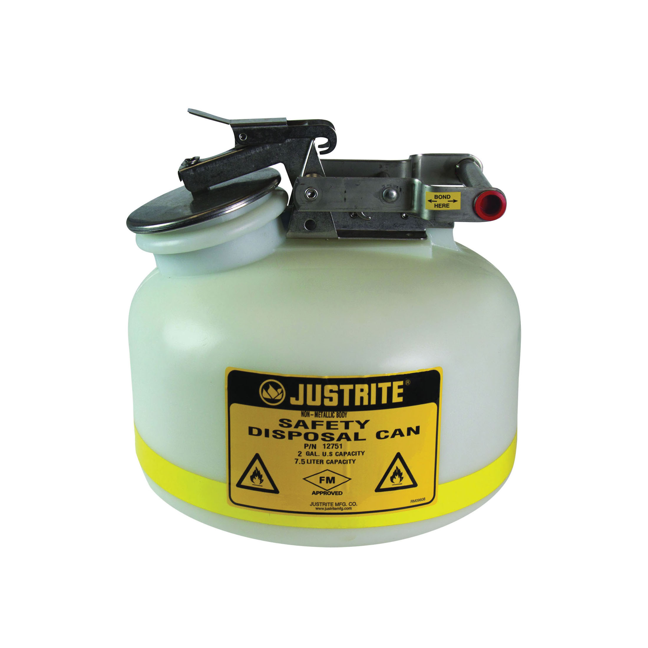 Justrite® 12751 Liquid Disposal Safety Can With Stainless Steel Hardware, 2 gal Capacity, 12 in Dia, 14-3/4 in H, Polyethylene, White, FM Approved, OSHA Approved, NFPA 30