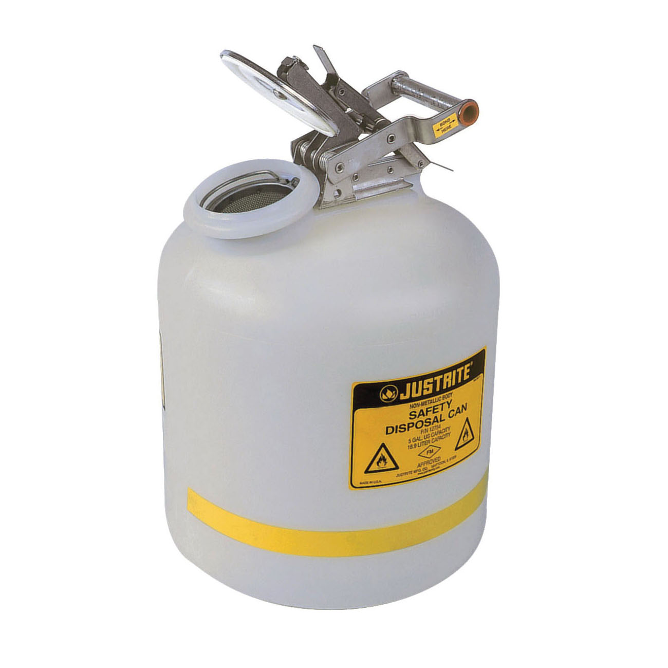 Justrite® 12754 Liquid Disposal Safety Can With Stainless Steel Hardware, 5 gal Capacity, 12 in Dia, 20 in H, Polyethylene, White, FM Approved, OSHA Approved, NFPA 30
