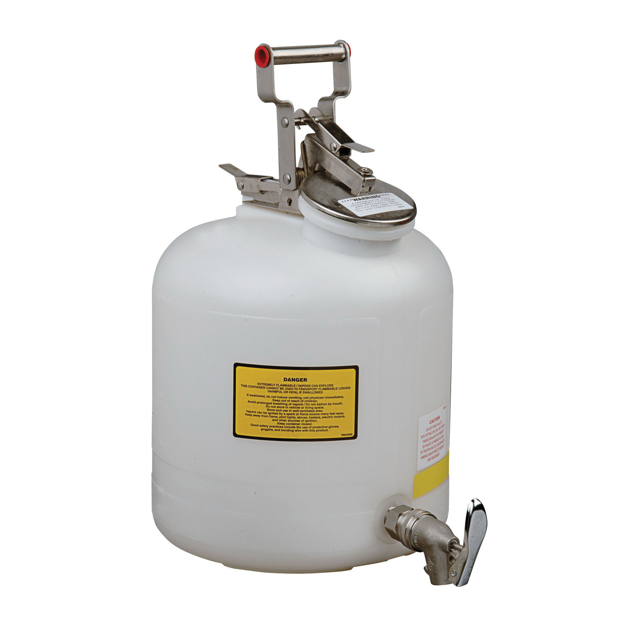 Justrite® 12772 Liquid Disposal Safety Can With Stainless Steel Hardware and Faucet, 5 gal Capacity, 12 in Dia, 20 in H, Polyethylene, White, FM Approved, OSHA Approved, NFPA 30