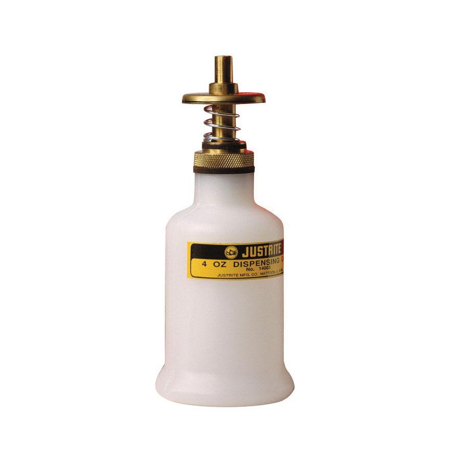 Justrite® 14002 Non-Metallic Safety Dispenser Can With Brass Dispenser Valve, 4 oz, 2-1/4 in Dia x 5-1/2 in H, Translucent Polyethylene, White