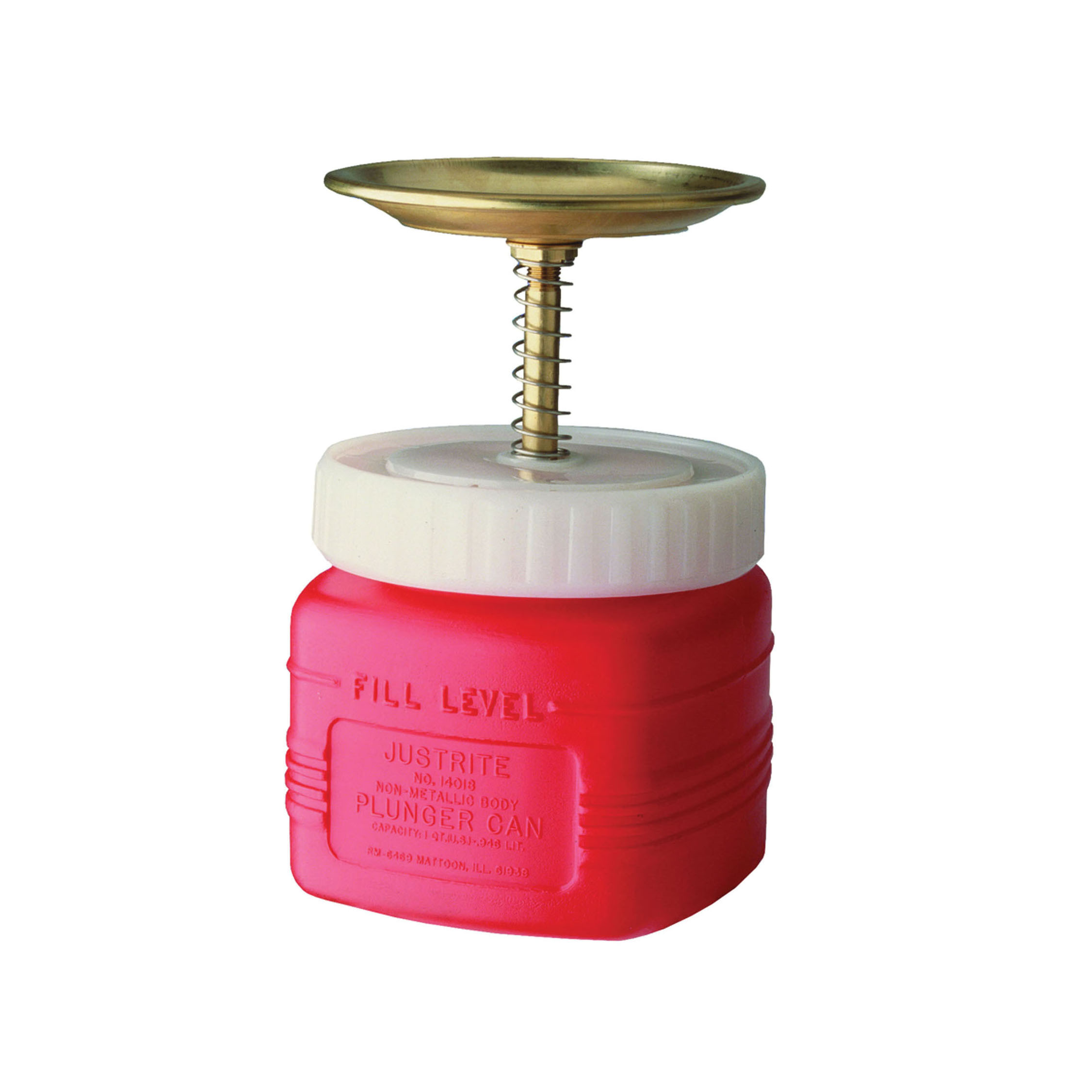 Justrite® 14018 Non-Metallic Plunger Dispensing Can, 1 qt, Brass Dasher/Polyethylene, Red, Brass/Ryton® Plunger, 5 in Dia Dasher Plate