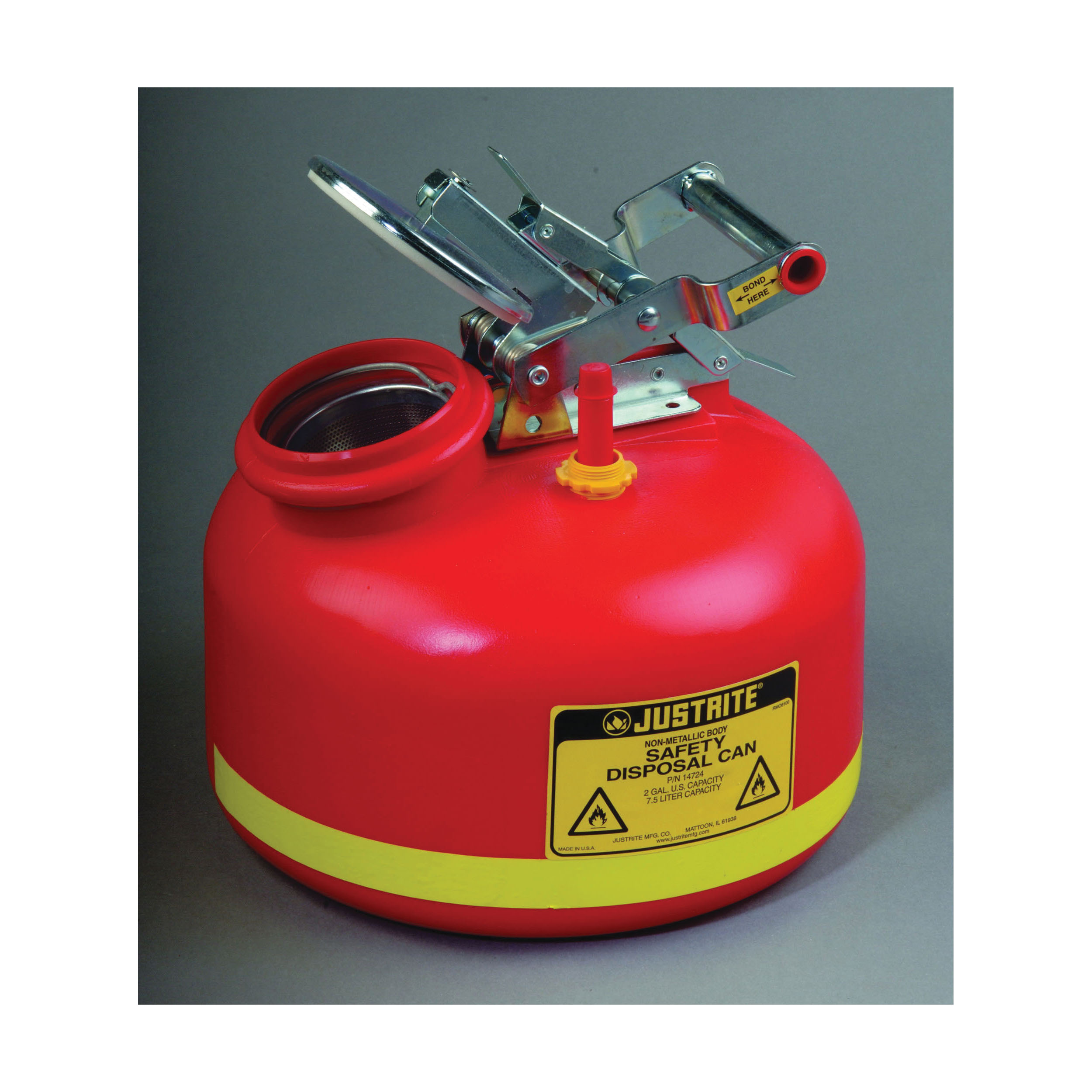 Justrite® 14265 Liquid Disposal Safety Can With Stainless Steel Hardware, 2 gal Capacity, 12 in Dia, 14-3/4 in H, Polyethylene, Red, FM Approved, OSHA Approved