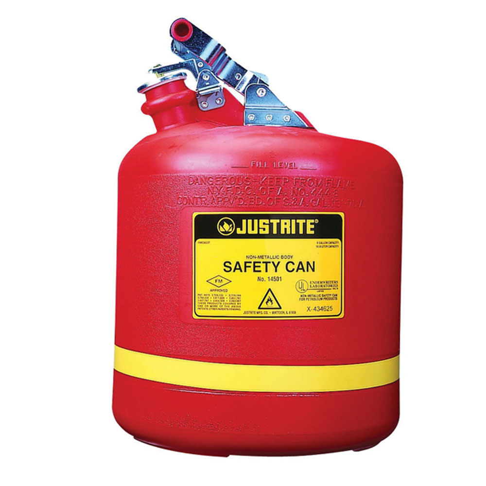 Justrite® 14561 Type I Round Safety Can With Stainless Steel Hardware, 5 gal Capacity, 12-3/4 in Dia x 16 in H, Polyethylene, Red