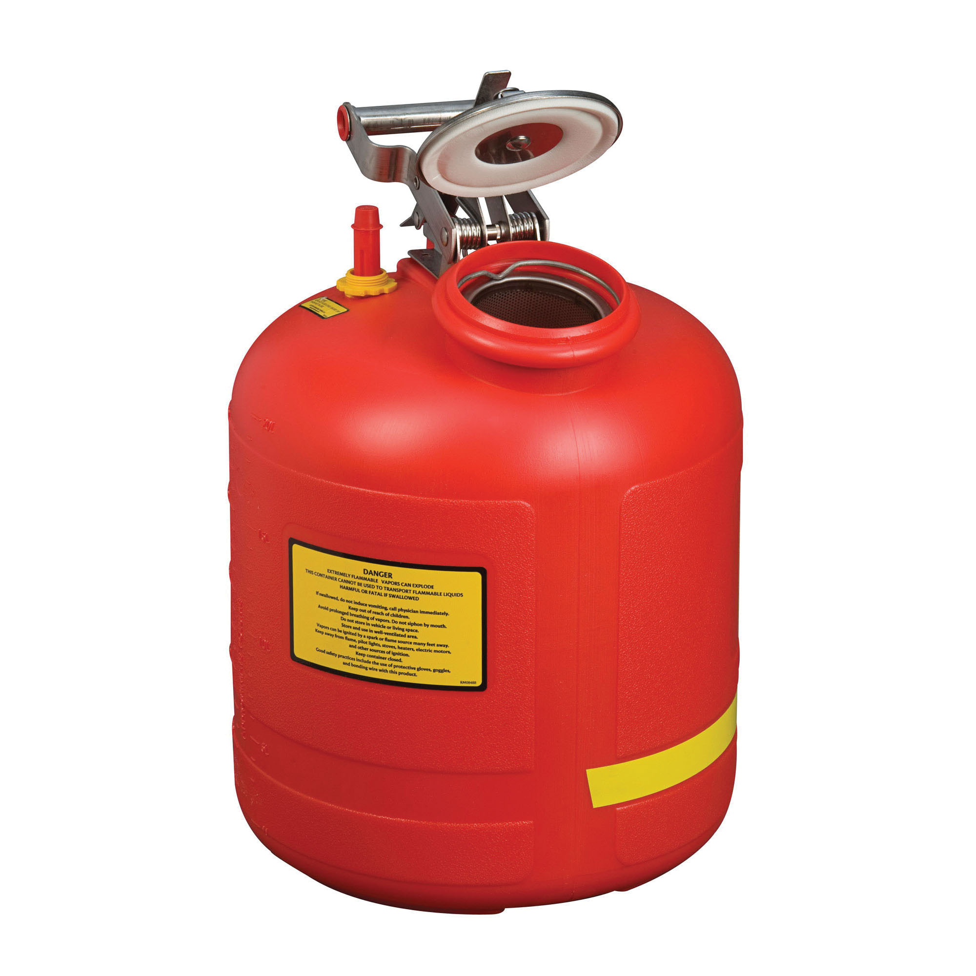 Justrite® 14565 Liquid Disposal Safety Can With Stainless Steel Hardware, 5 gal Capacity, 12 in Dia, 20 in H, Polyethylene, Red, OSHA Approved, NFPA Compliant