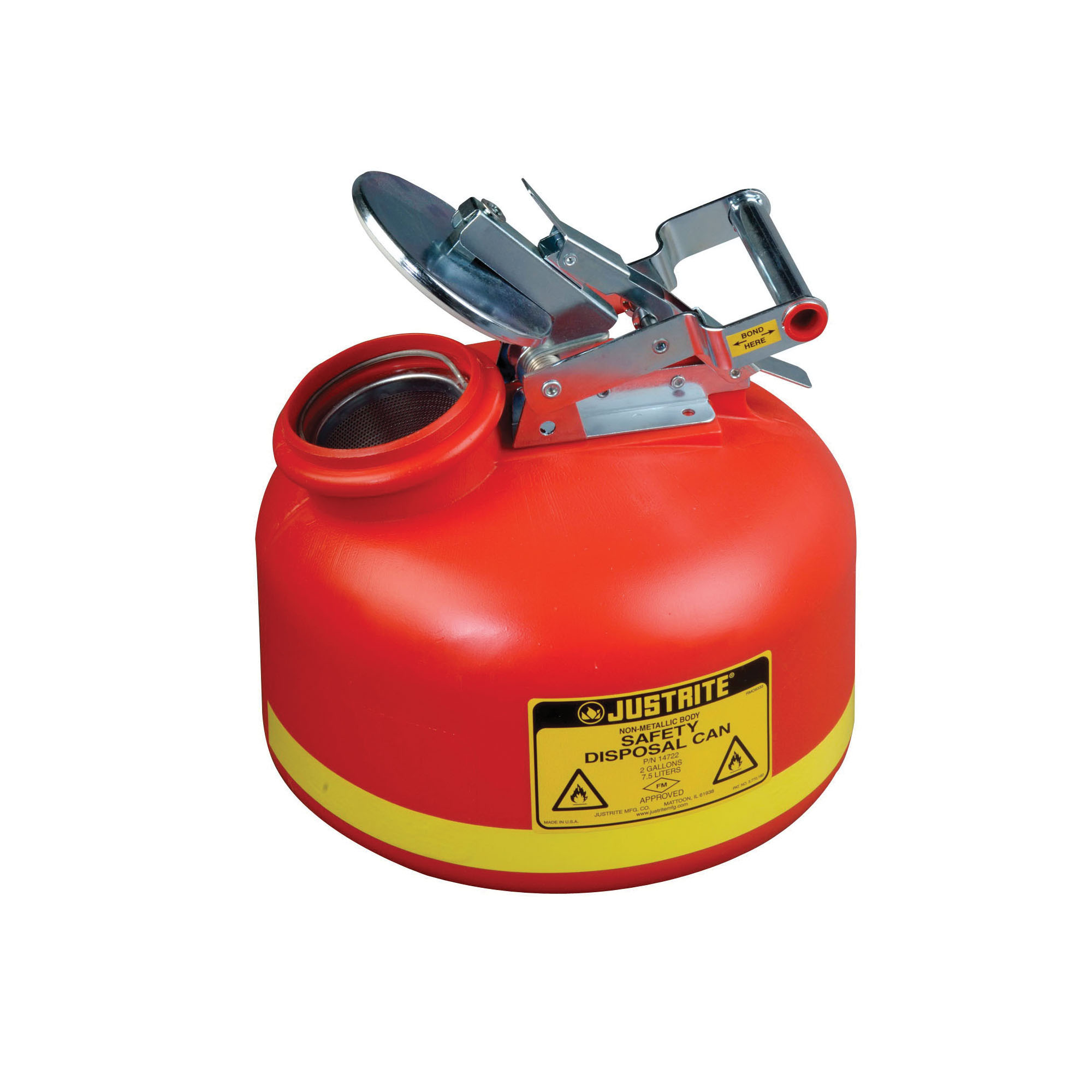Justrite® 14762 Liquid Disposal Safety Can With Stainless Steel Hardware, 2 gal Capacity, 12 in Dia, 14-3/4 in H, Polyethylene, Red, FM Approved, OSHA Approved, NFPA 30