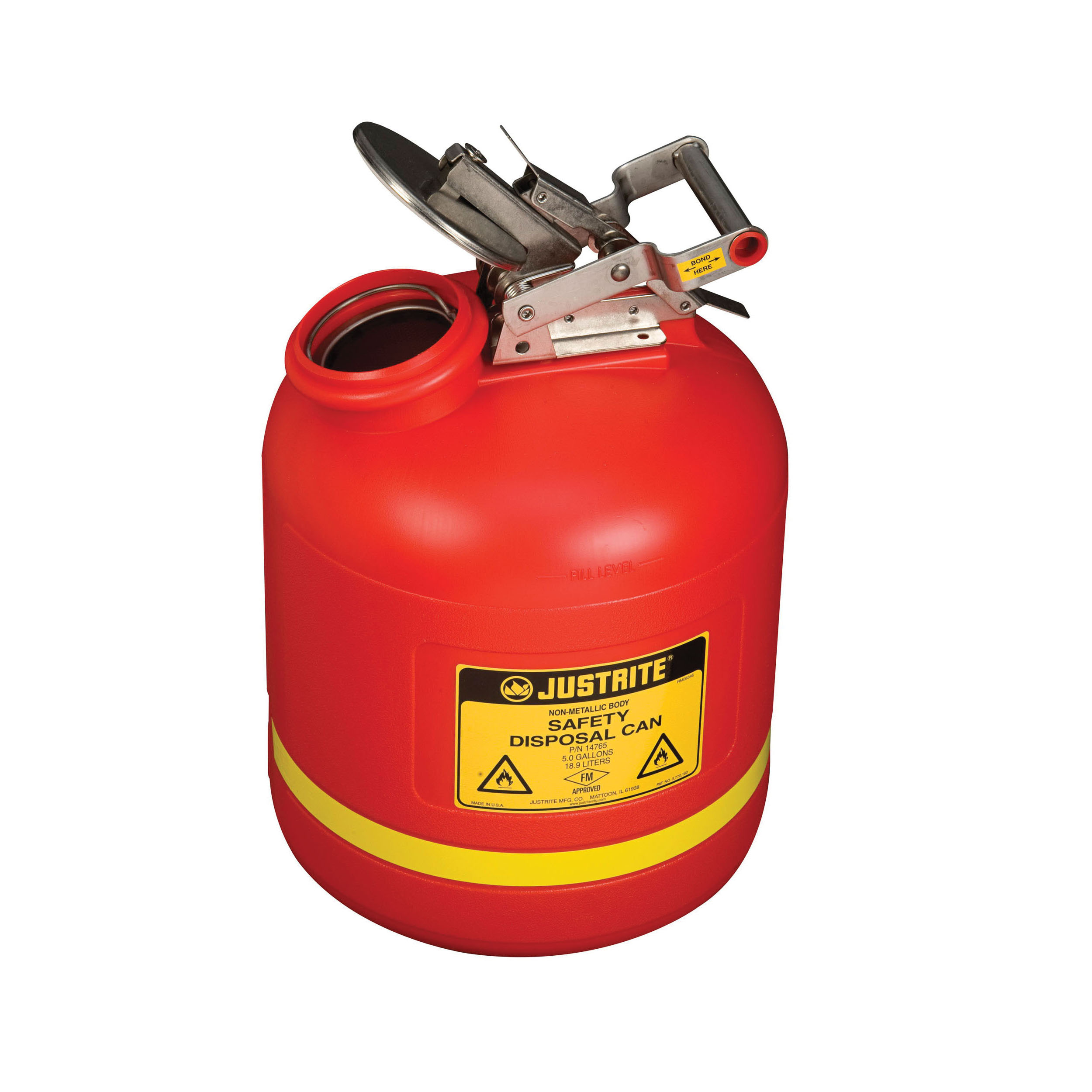 Justrite® 14765 Liquid Disposal Safety Can With Stainless Steel Hardware, 5 gal Capacity, 12 in Dia, 20 in H, Polyethylene, Red, FM Approved, OSHA Approved, NFPA 30