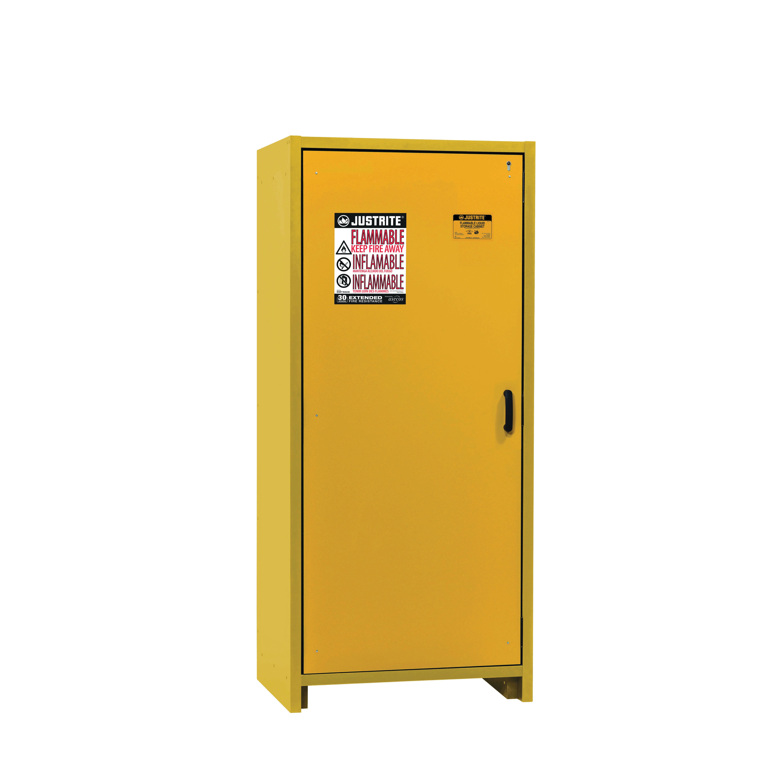 Justrite® 22601 Standard Flammable Safety Cabinet, 30 gal Capacity, Bar Handle, 76.65 in H x 34.02 in W x 24.41 in D, Hybrid Close Door, 1 Doors, 3 Shelves, Melamine Resin Body/Steel, Yellow