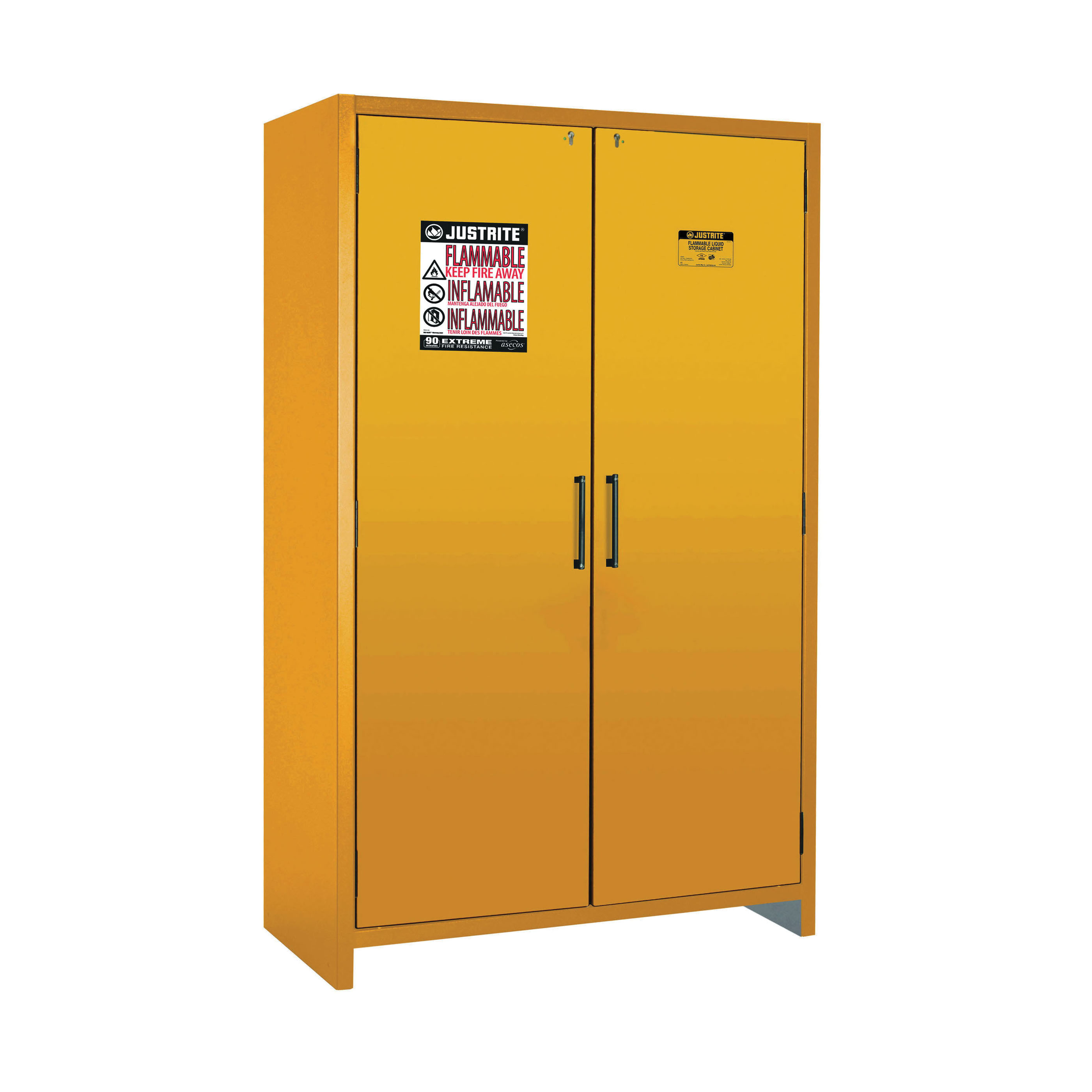 Justrite® 22607 Standard Flammable Safety Cabinet, 45 gal Capacity, Bar Handle, 76.89 in H x 46.97 in W x 24.21 in D, Hybrid Close Door, 2 Doors, 3 Shelves, Steel, Yellow