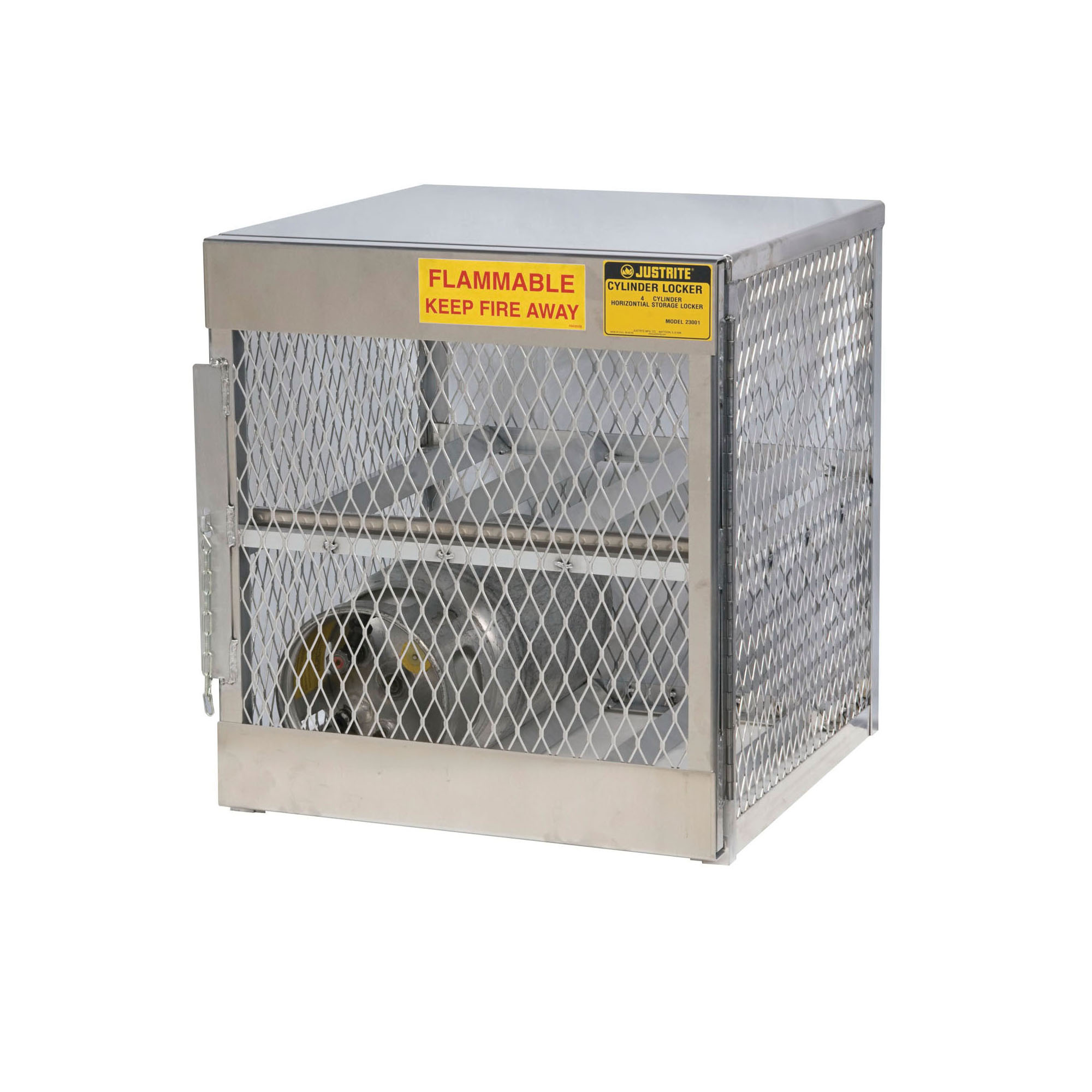Justrite® 23001 Horizontal LPG Cylinder Locker, (4) 20 lb/33 lb, 33-1/2 in H x 30 in W x 32 in D, Aluminum Roof, Welded Aluminum, Aluminum