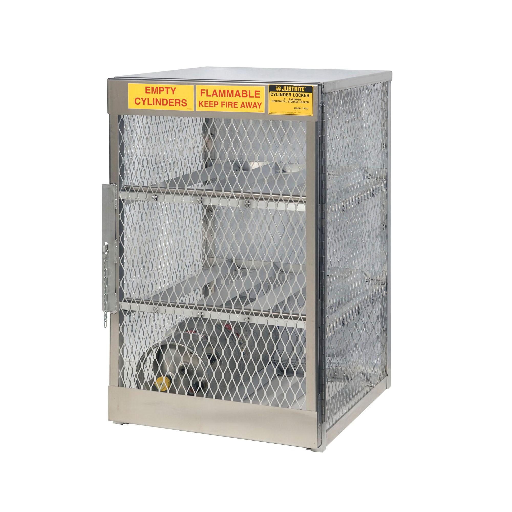 Justrite® 23002 Horizontal LPG Cylinder Locker, (6) 20 lb/33 lb, 49-1/2 in H x 30 in W x 32 in D, Aluminum Roof, Welded Aluminum, Aluminum