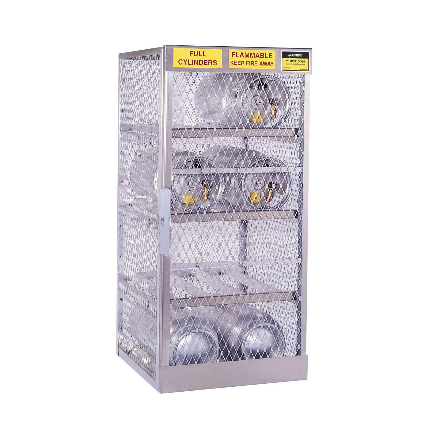 Justrite® 23003 Horizontal LPG Cylinder Locker, (8) 20 lb/33 lb, 65 in H x 30 in W x 32 in D, Aluminum Roof, Welded Aluminum, Aluminum