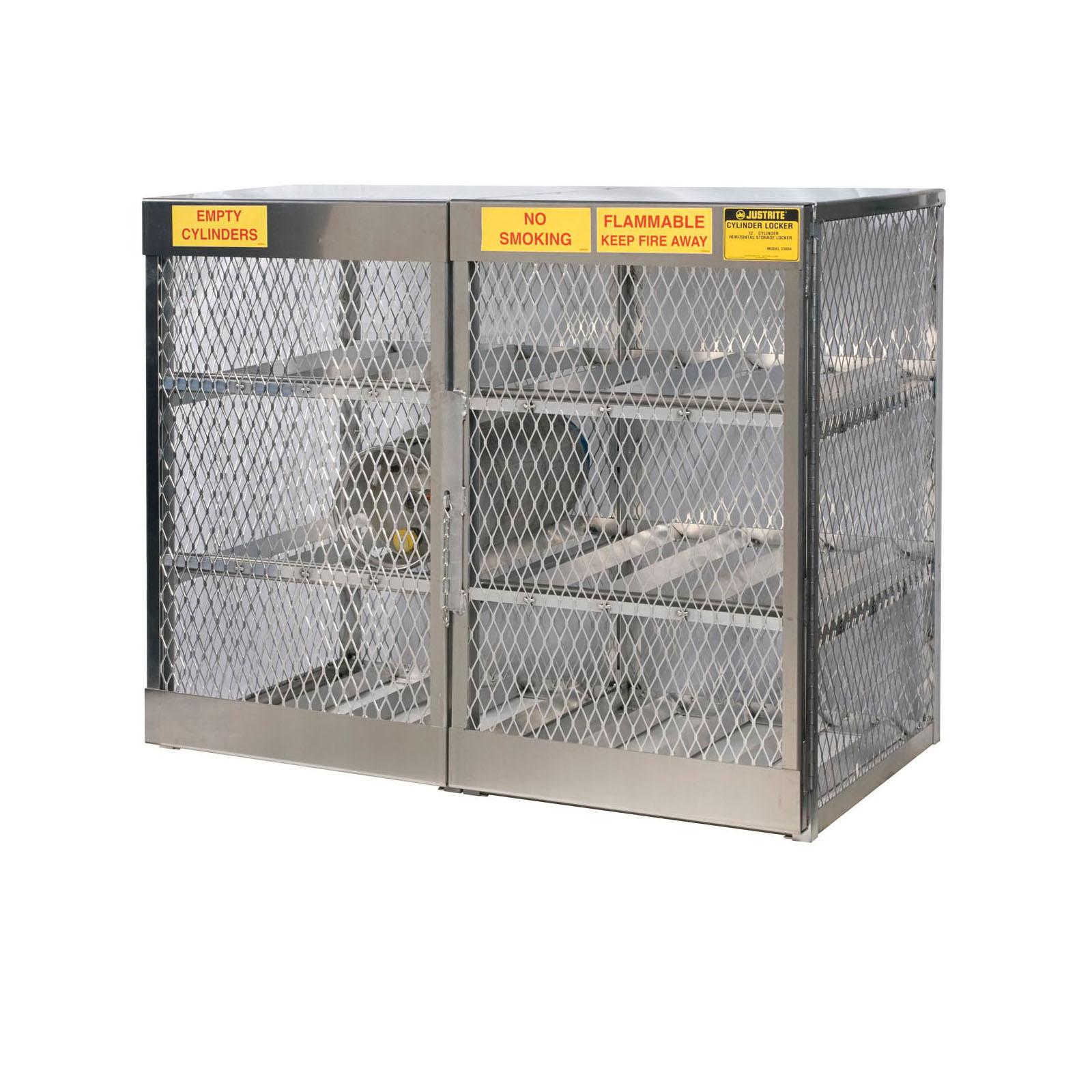 Justrite® 23004 Horizontal LPG Cylinder Locker, (12) 20 lb/33 lb, 49-1/2 in H x 60 in W x 32 in D, Aluminum Roof, Welded Aluminum, Aluminum