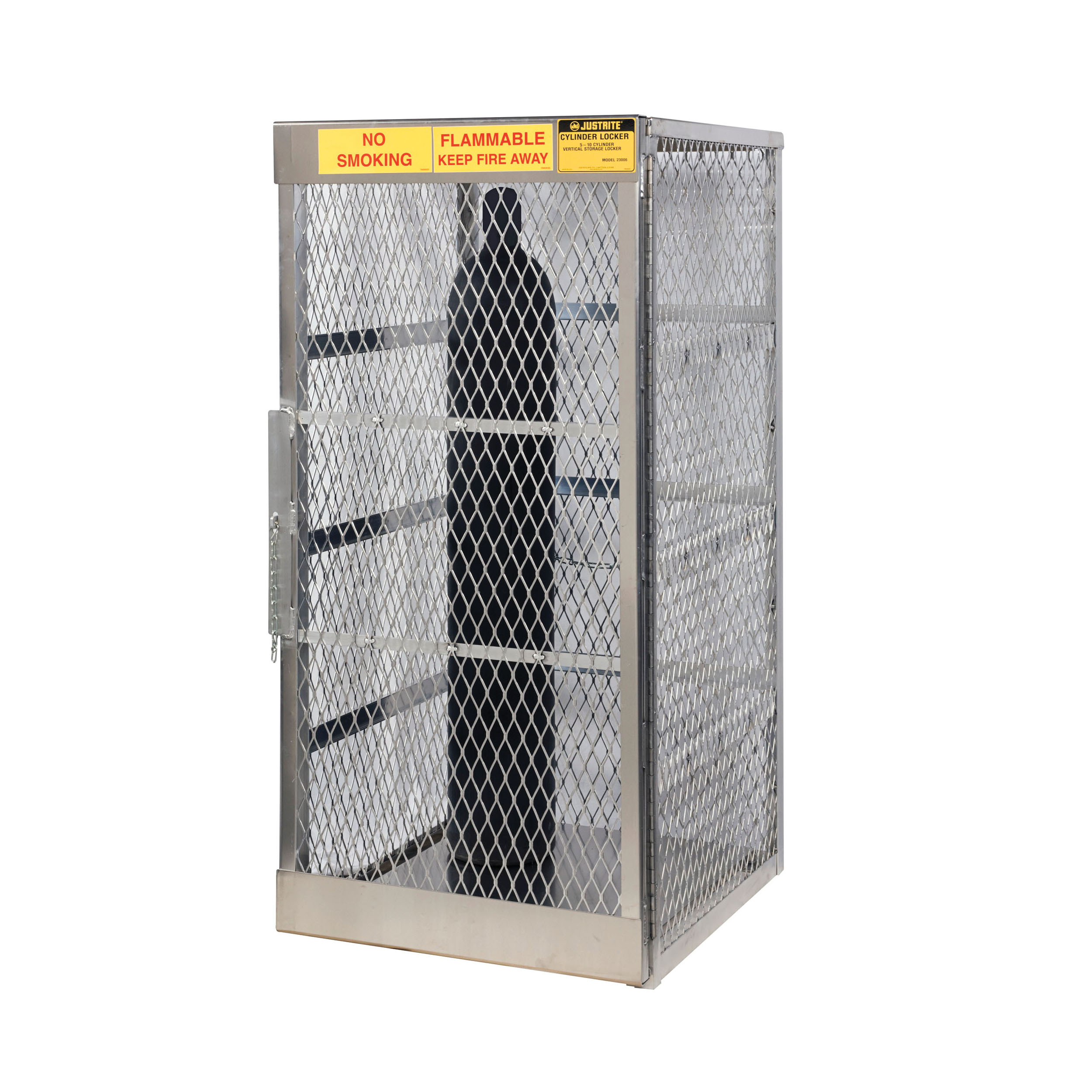Justrite® 23006 Vertical Compressed Gas Cylinder Locker, Up to 10 Cylinders, 65 in H x 30 in W x 32 in D, Aluminum Roof, Welded Aluminum, Aluminum