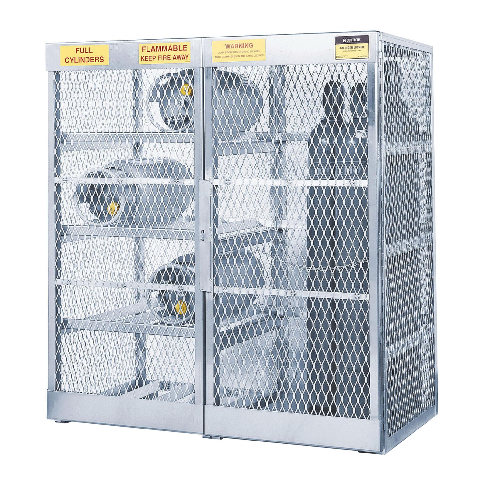Justrite® 23008 Combo Cylinder Locker, 8 Horizontal/10 Vertical Cylinders, 65 in H x 60 in W x 32 in D, Aluminum Roof, Welded Aluminum, Aluminum
