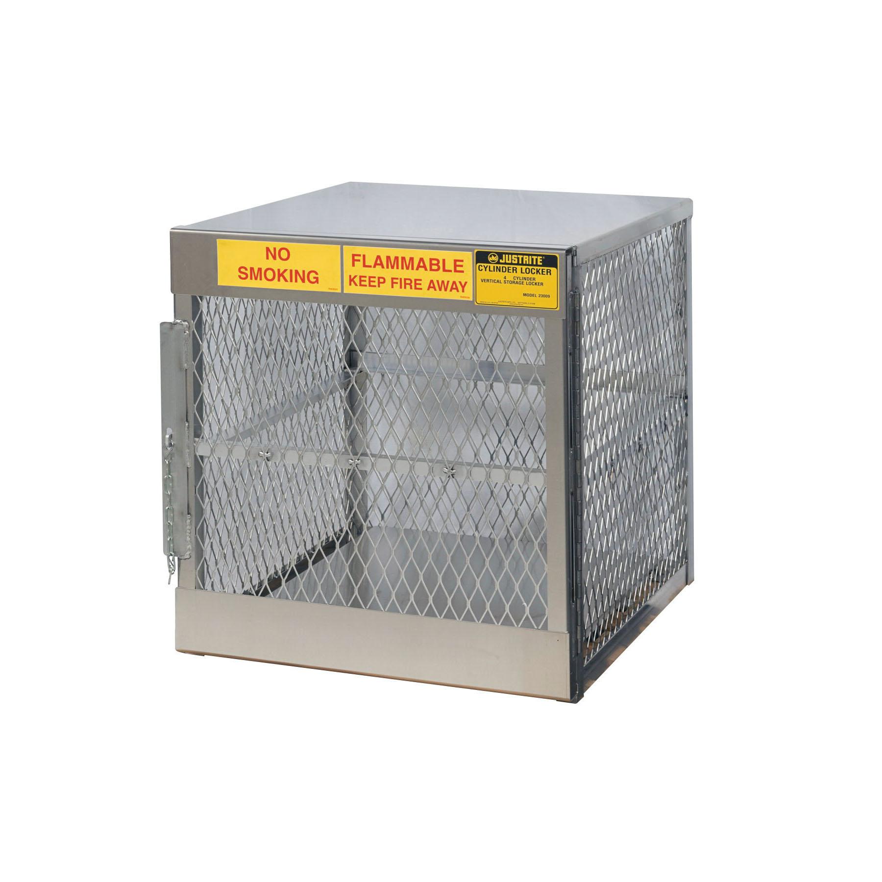 Justrite® 23009 Vertical LPG Cylinder Locker, (4) 20 lb/33 lb, 33-1/2 H x 30 in W x 32 in D, Aluminum Roof, Welded Aluminum, Aluminum