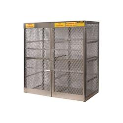Justrite® 23011 Vertical LPG Cylinder Locker, (16) 20 lb/33 lb, 65 in H x 60 in W x 32 in D, Aluminum Roof, Welded Aluminum, Aluminum