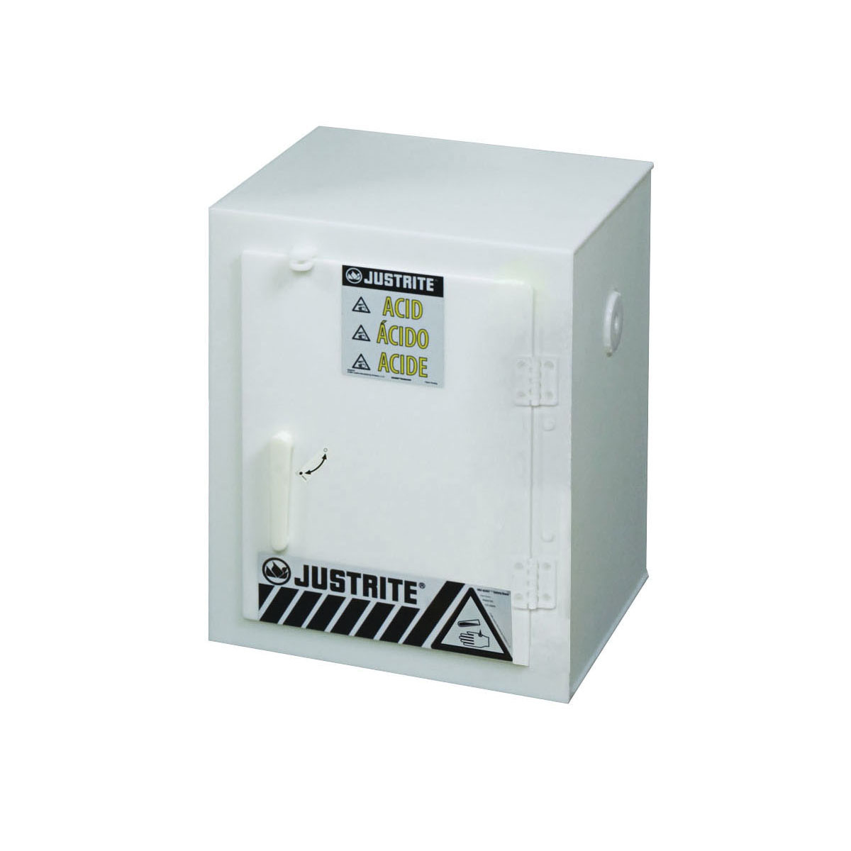 Justrite® 24004 Countertop Corrosive Safety Cabinet, (6) 2.5 L Bottle Capacity, 22 in H x 17 in W x 17 in D, Manual Close Door, 1 Doors, Polyethylene, White