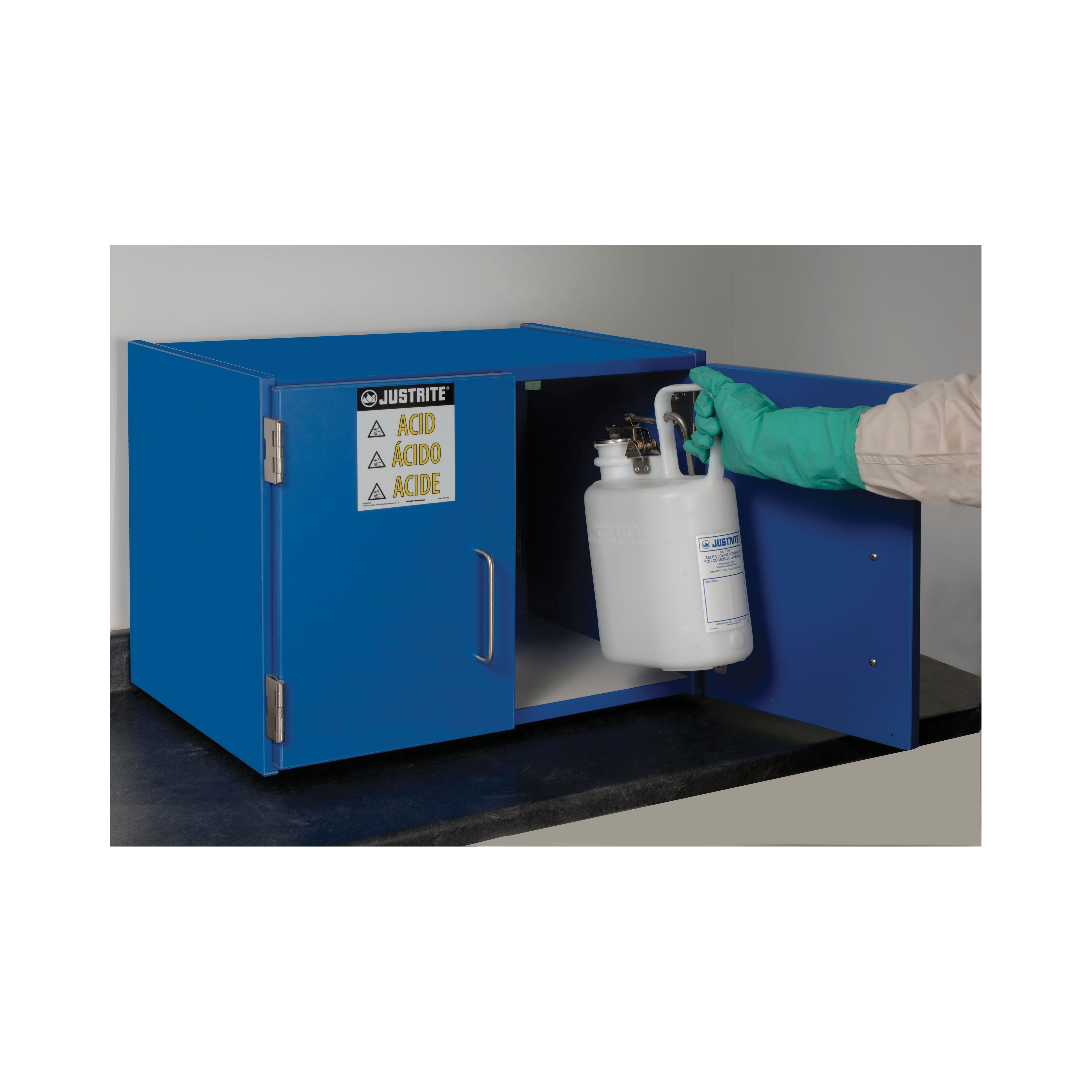 Justrite® 24120 Countertop Corrosive Safety Cabinet, (6) 2.5 L Bottle Capacity, 18-1/2 in H x 24 in W x 16 in D, Manual Close Door, 2 Doors, Wood Laminate, Blue