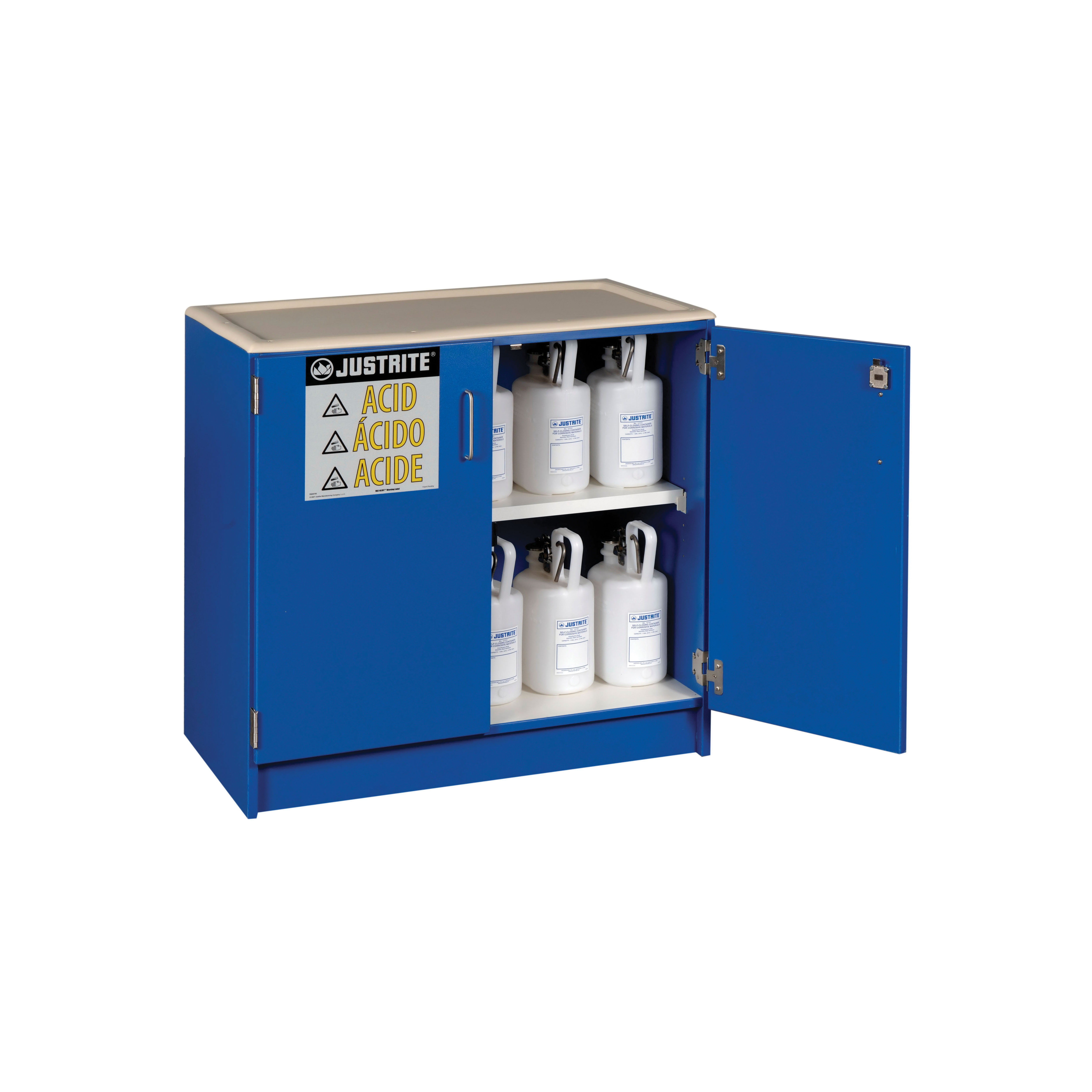 Justrite® 24140 Undercounter Corrosive Safety Cabinet, (36) 2.5 L Bottle Capacity, 35-3/4 in H x 36 in W x 22 in D, Manual Close Door, 2 Doors, 1 Shelves, Wood Laminate, Blue