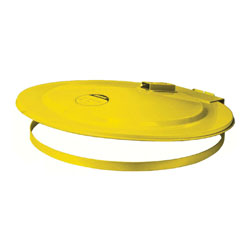 Justrite® 26751 Self-Closing Safety Drum Cover With Fusible Link, For Use With 55 gal Drums, Steel, Yellow