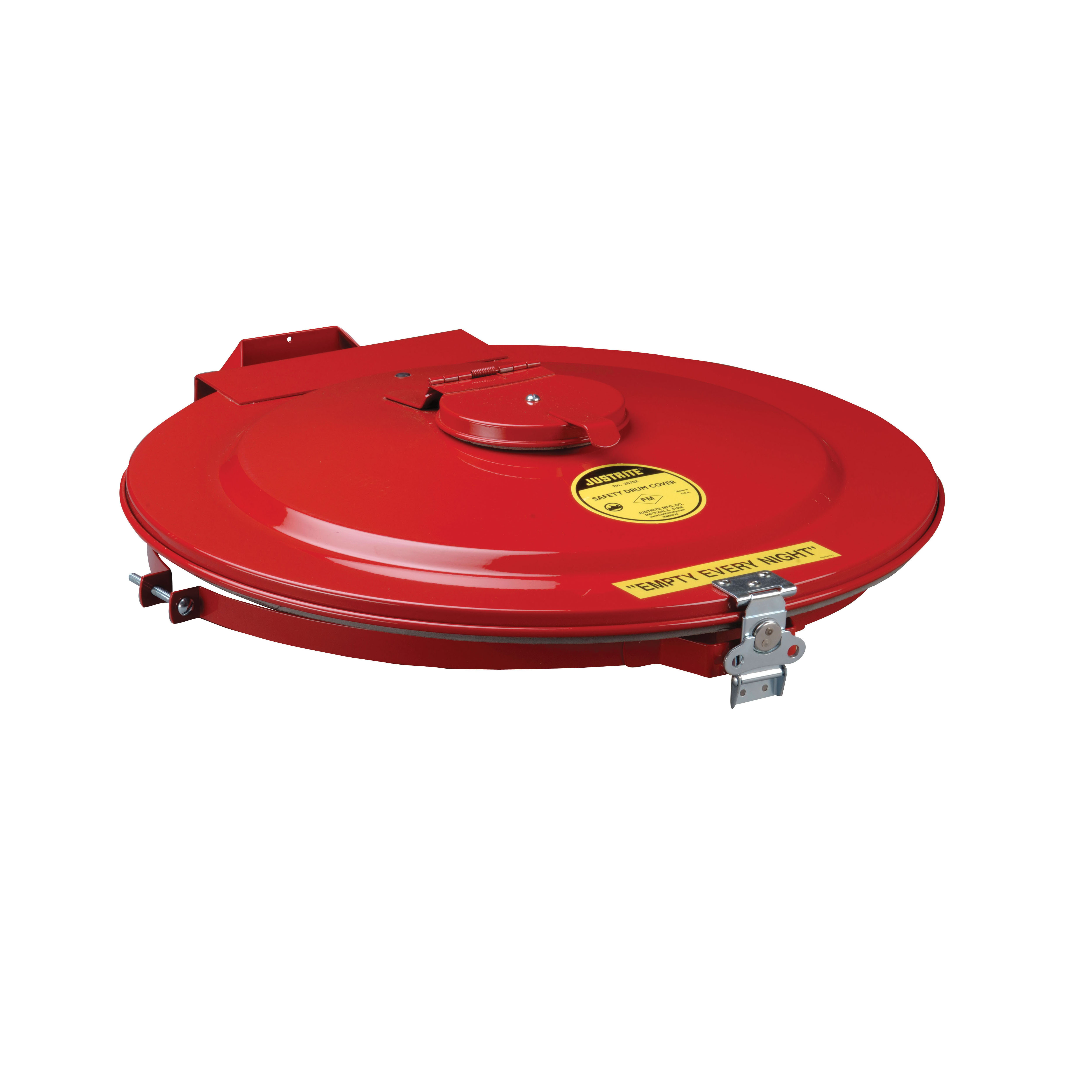 Justrite® VaporTrap™ 26754 Manual Close Safety Drum Cover With Gasket and Port, For Use With 55 gal Drums, Steel, Red