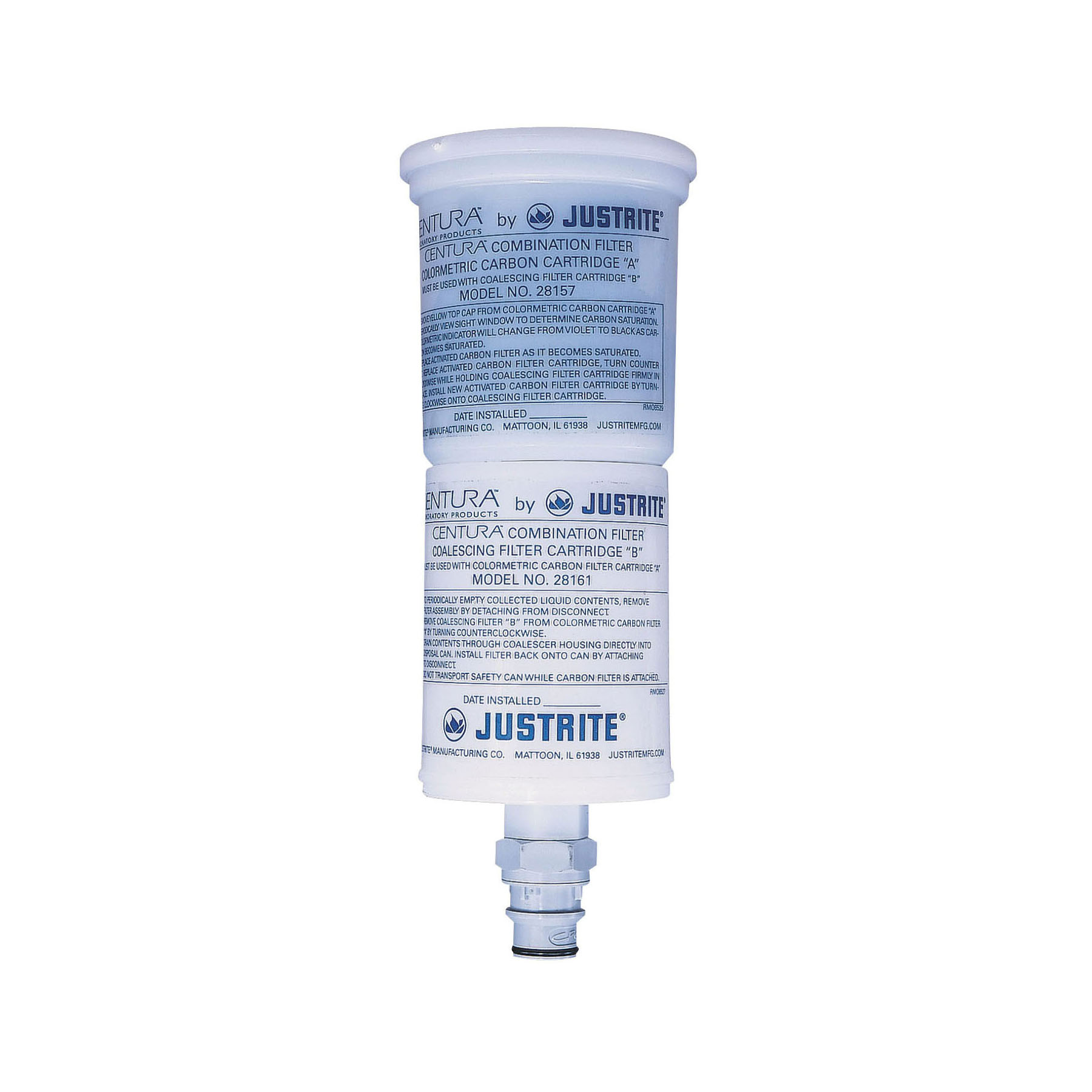 Justrite® 28161 Coalescing/Carbon Filter With Polypropylene Disconnect, For Use With HPLC Disposal Cans, Plastic, White, Specifications Met: EPA 40 CFR 264.173