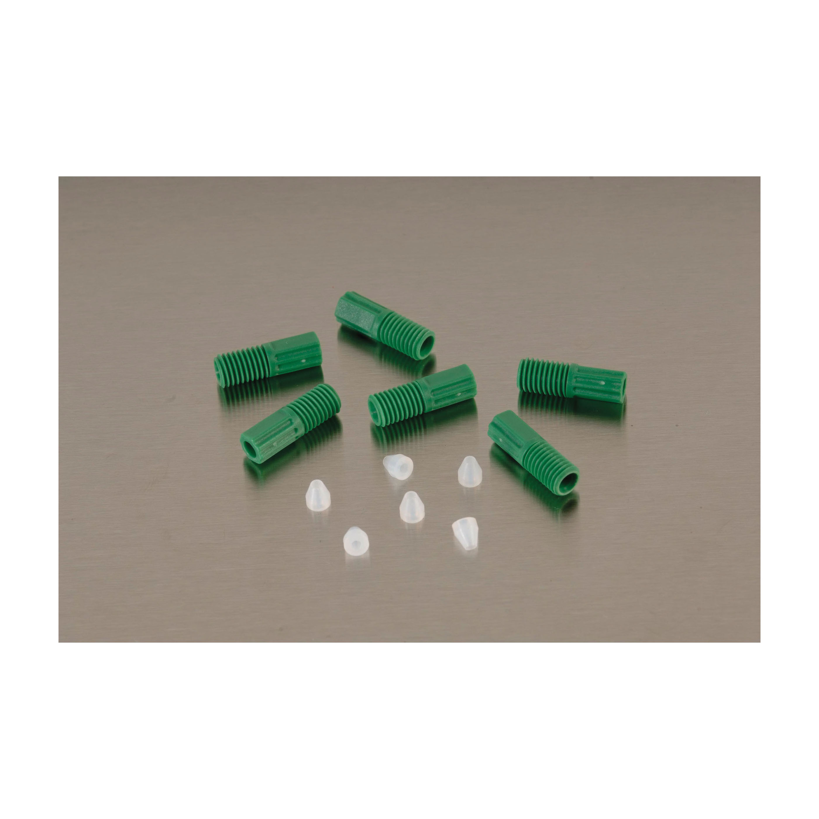 Justrite® 28189 Compression Fitting With Ferrules, For Use With HPLC Poly Manifolds, Resin, Green