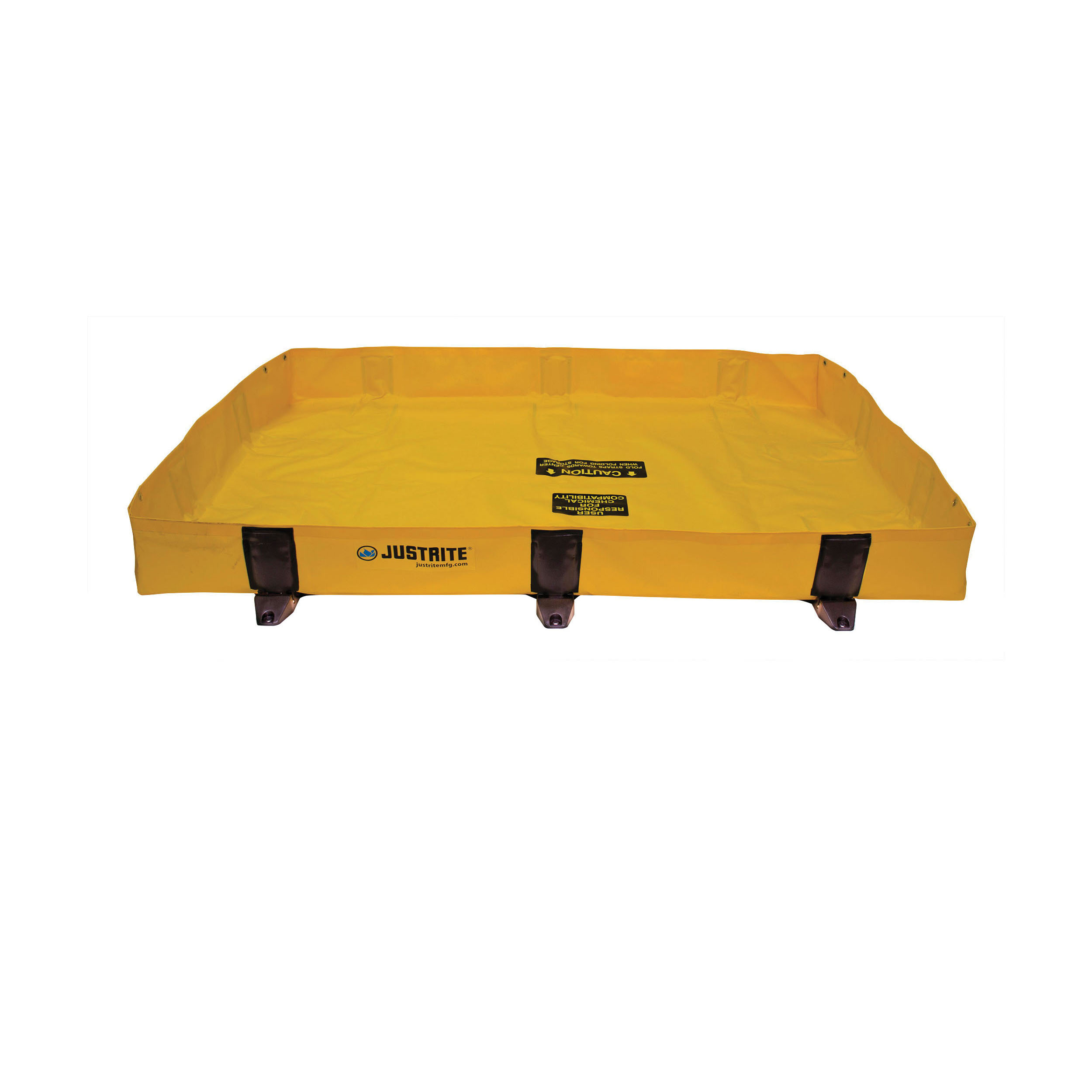 Justrite® 28372 Rigid-Lock QuickBerm® Lite Spill Containment Berm, 6 ft L x 4 ft W x 8 in H, EnGuard™ I/PVC Coated Fabric