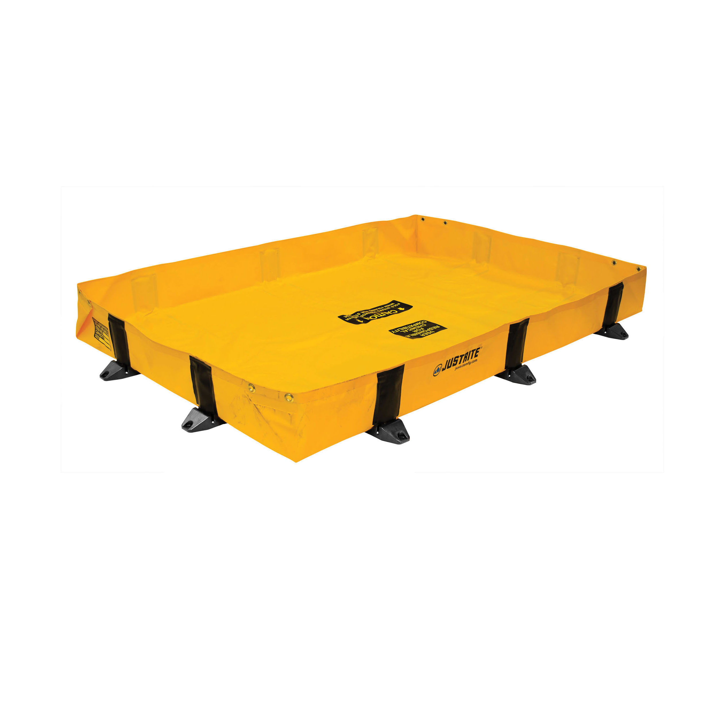 Justrite® 28374 Rigid-Lock QuickBerm® Lite Spill Containment Berm, 8 ft L x 4 ft W x 8 in H, EnGuard™ I/PVC Coated Fabric