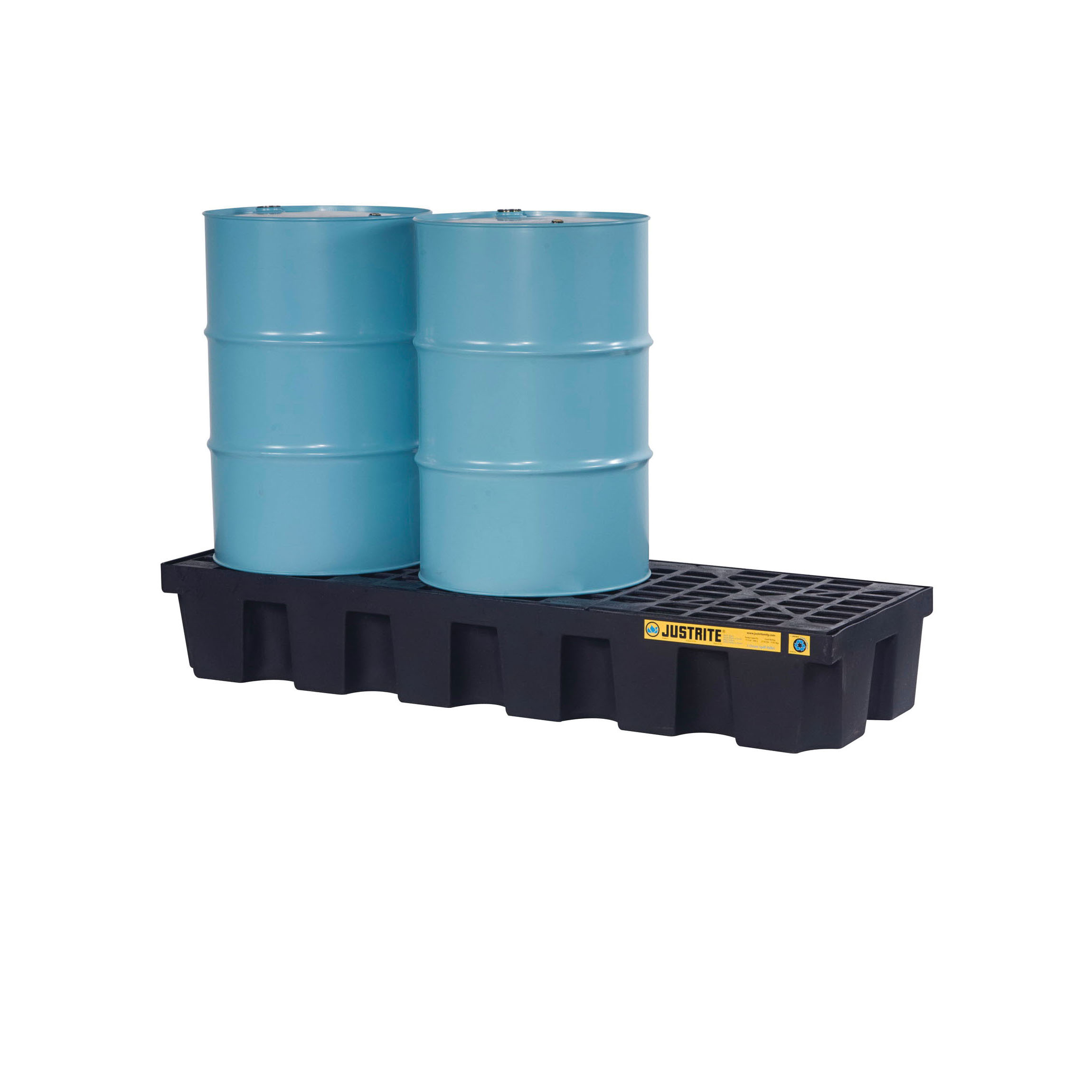 Justrite® 28627 EcoPolyBlend™ Spill Control Pallet, 3 Drums, 75 gal Spill, 3750 lb Load, 100% Recycled Polyethylene