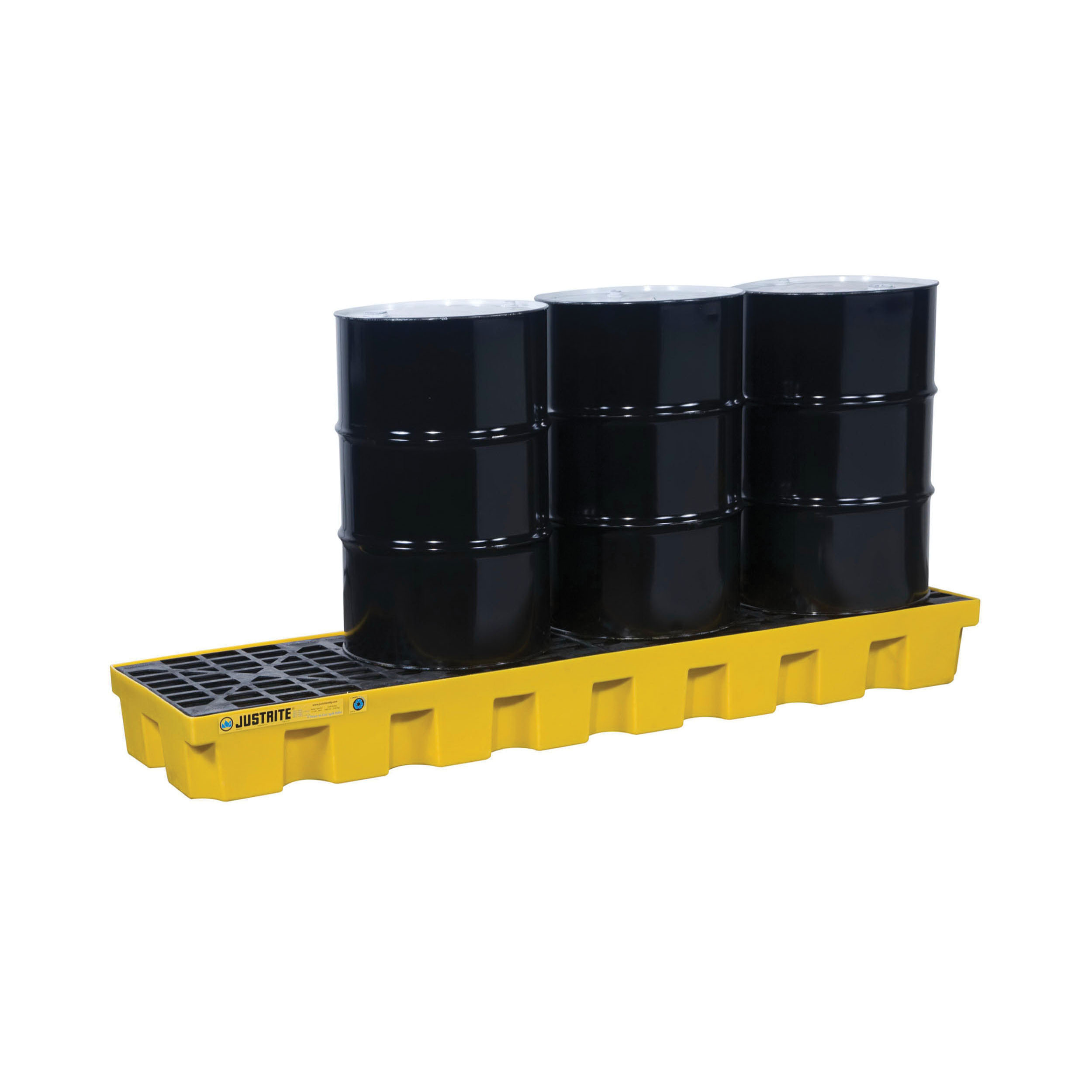 Justrite® 28632 EcoPolyBlend™ Spill Control Pallet With Drain, 4 Drums, 75 gal Spill, 5000 lb Load, 35% Recycled Polyethylene